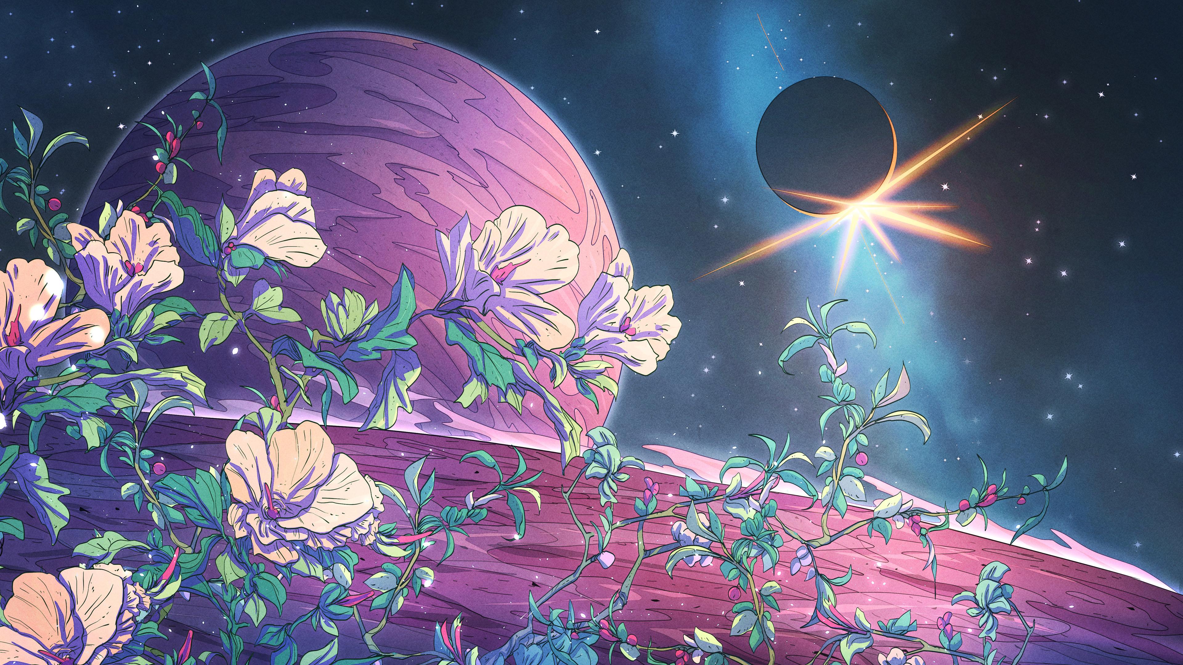 General 3840x2160 Christian Benavides digital art fantasy art flowers space eclipse  planet stars