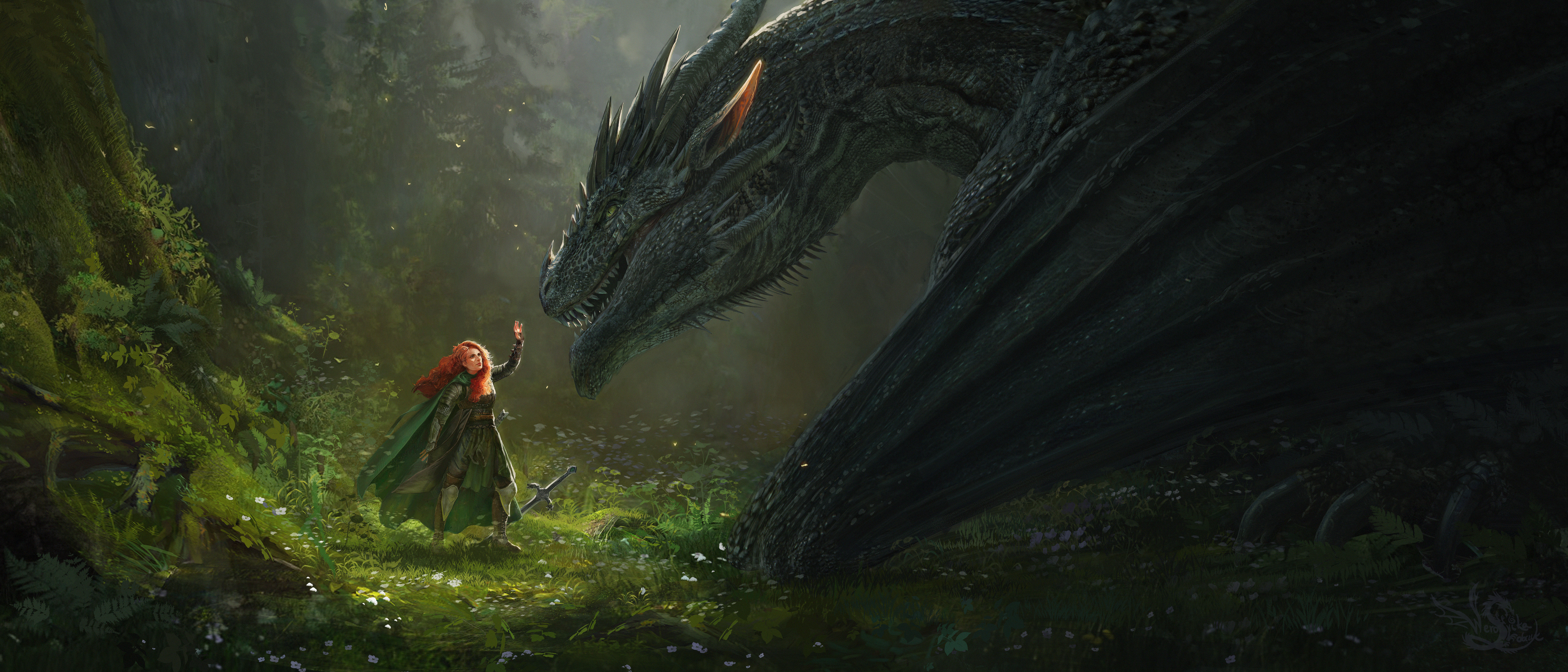 General 7000x3000 artwork fantasy art women redhead dragon creature fantasy girl
