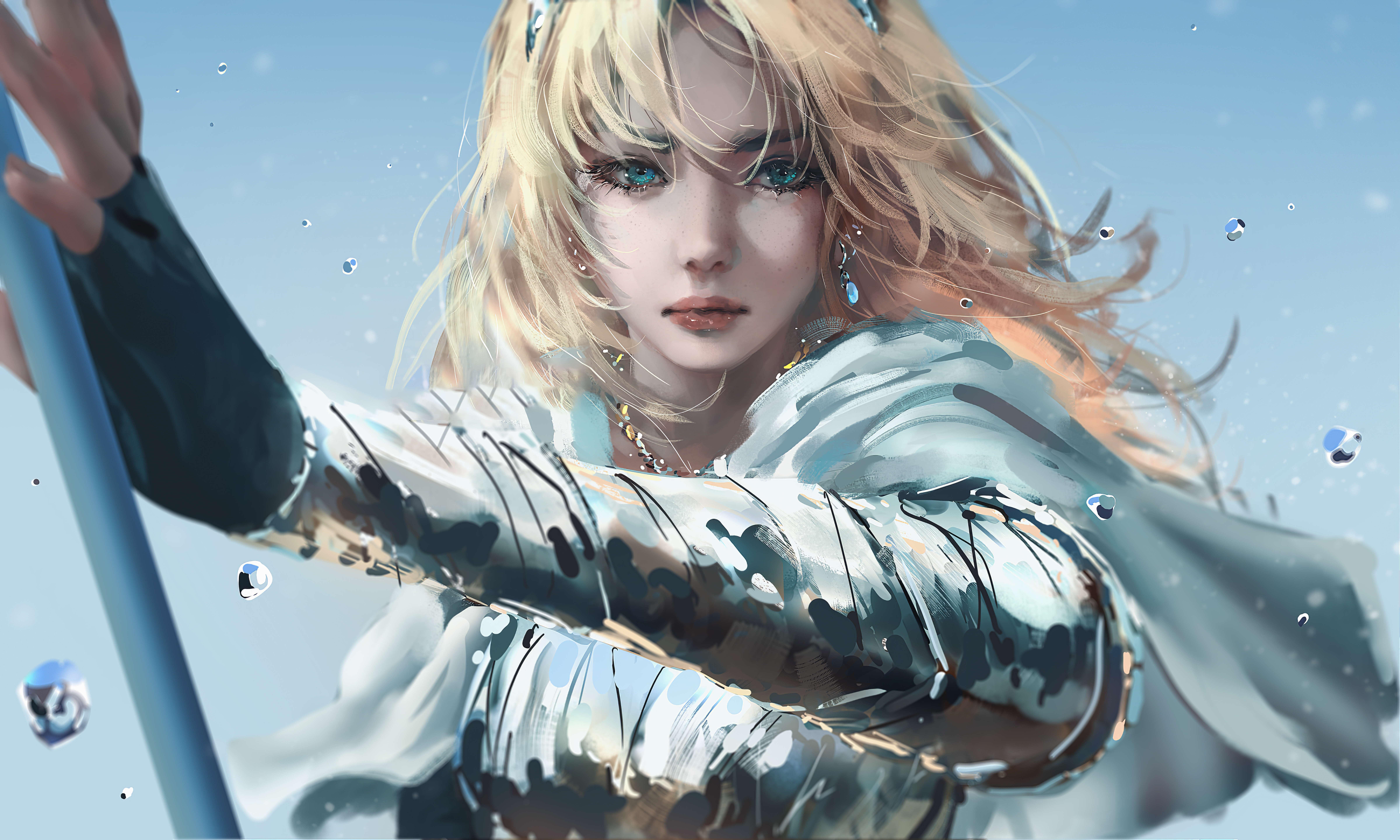 General 9600x5760 League of Legends Lux (League of Legends) video game art Nixeu PC gaming video game girls aqua eyes fantasy art blonde long hair looking at viewer fantasy girl