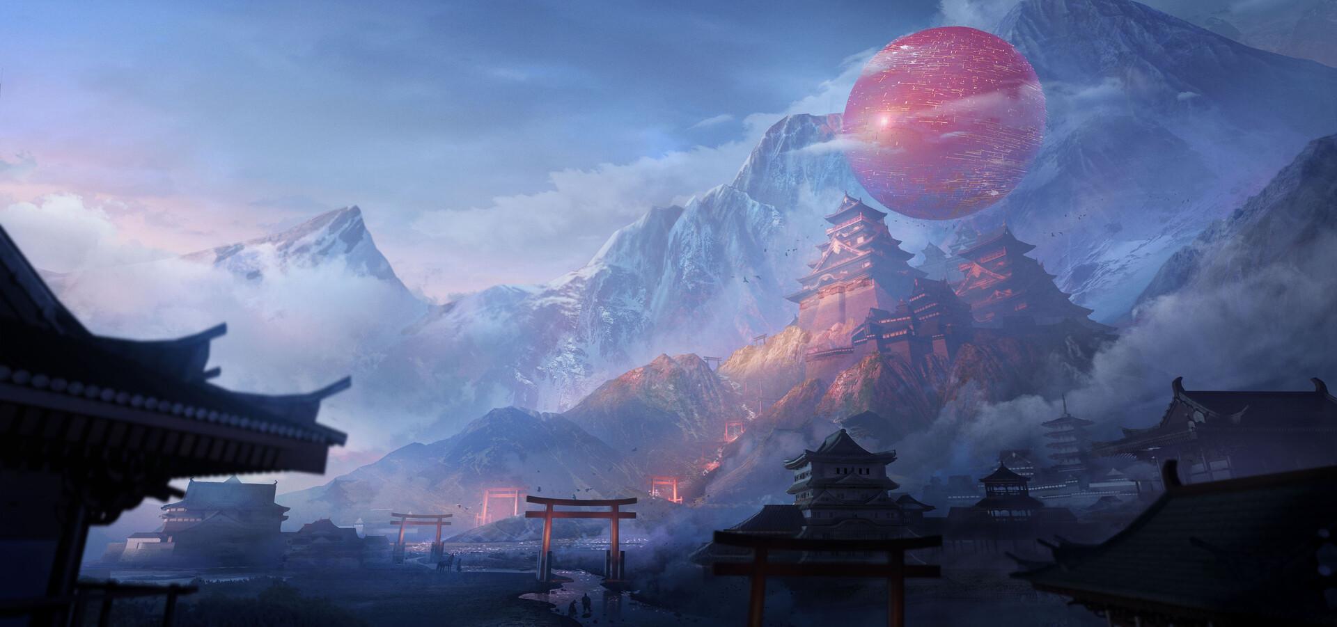 General 1920x901 Asia Yuan Yuan artwork fantasy art ArtStation mountains temple torii shrine river Asian architecture