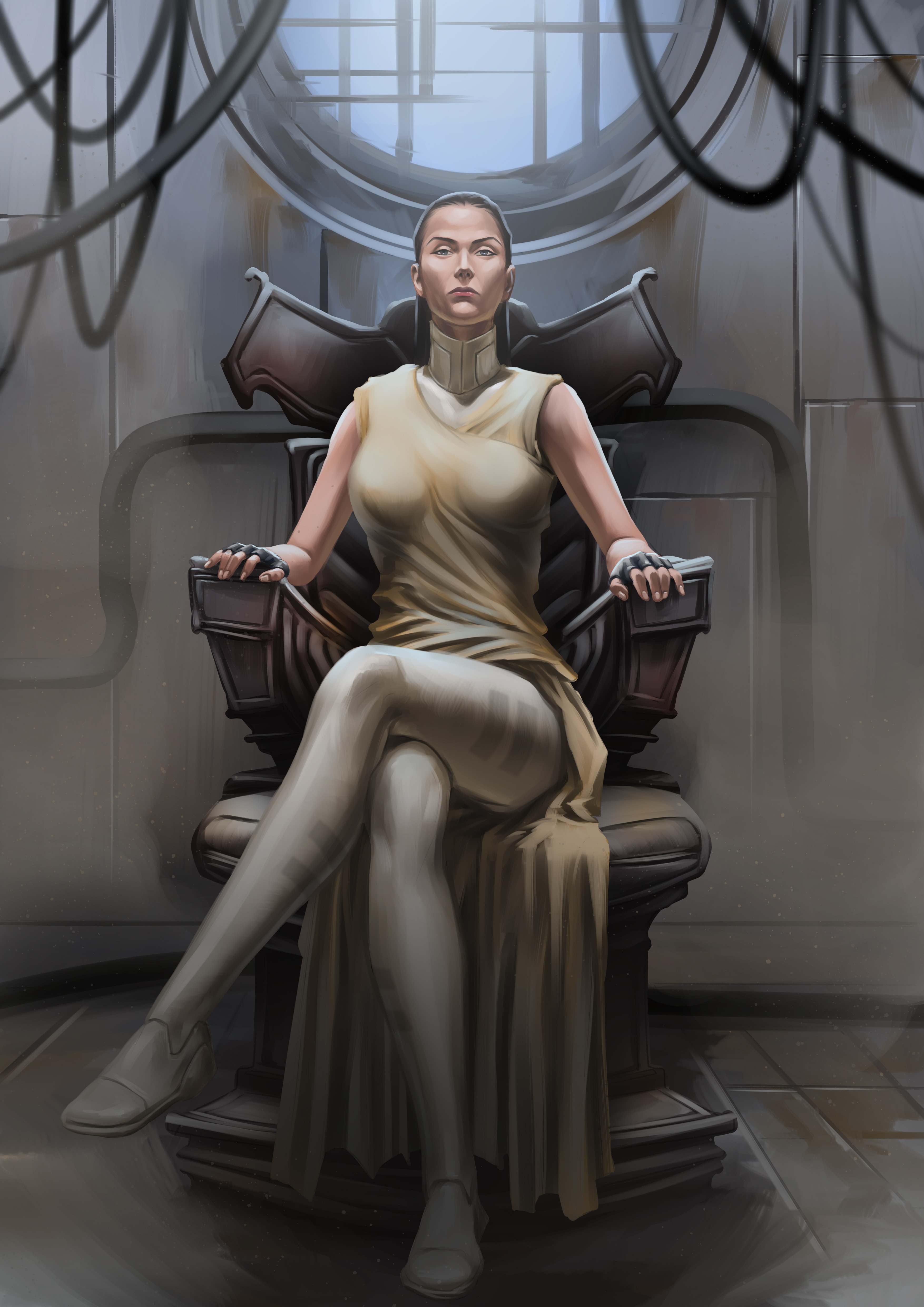 General 3508x4961 DumbOldSpider LLC legs legs crossed white dress yellow dress comic books comic art video game art women comics fictional character looking at viewer throne Throne Room game art concept art closed mouth blue eyes black gloves fingerless gloves dark hair black hair pointed toes white clothing sitting gloves yellow clothing video game girls artwork fictional characters room video games boobs digital painting digital art portrait display fan art video game characters dress bare shoulders wires ArtStation frontal view