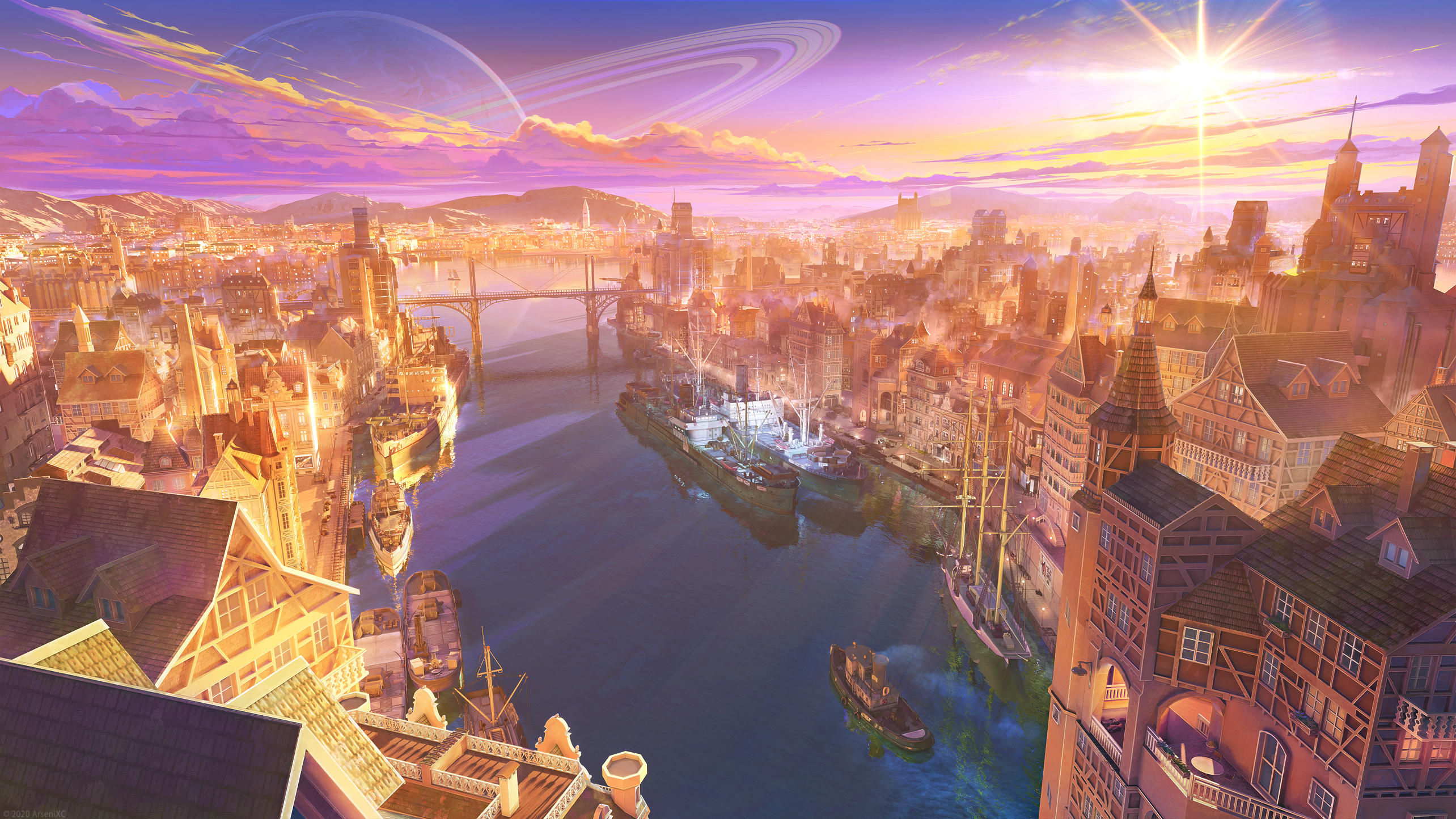 General 2568x1445 ArseniXC digital art river bridge boat planet sunrise cityscape