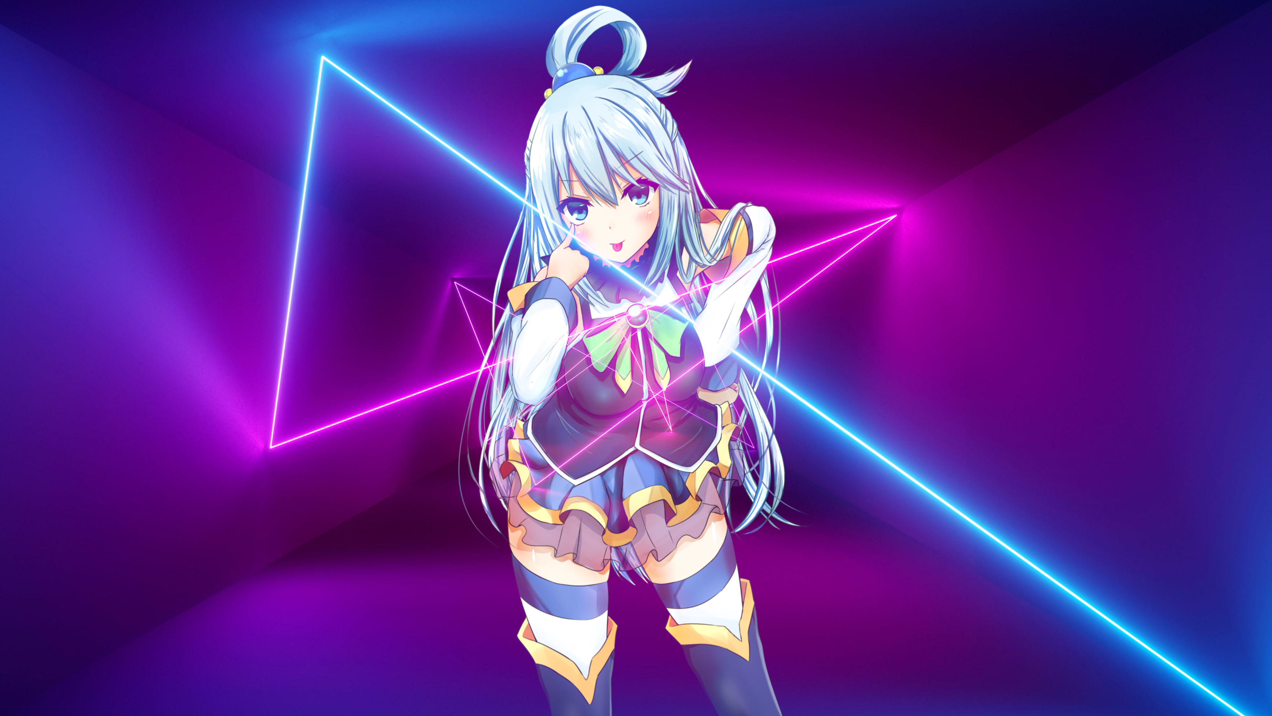 Anime 4088x2300 anime girls Aqua (KonoSuba) picture-in-picture synthwave Retrowave vaporwave