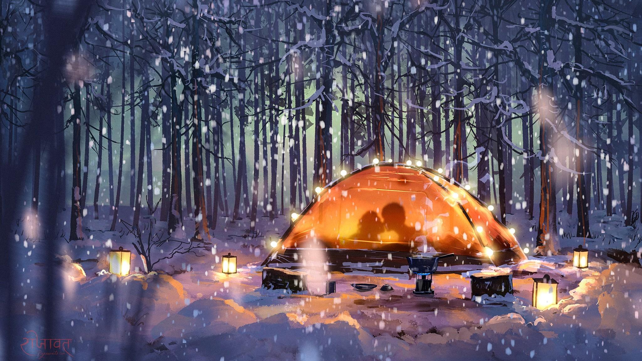 Anime 2048x1154 couple night forest snow lantern anime winter Surendra Rajawat