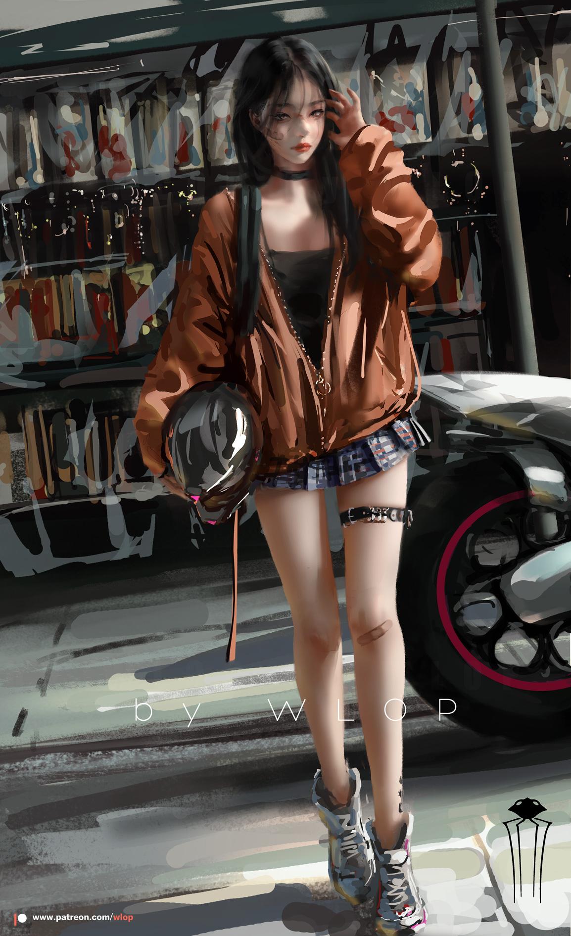 General 1154x1892 digital art women urban miniskirt motorcycle vehicle looking at viewer artwork anime girls