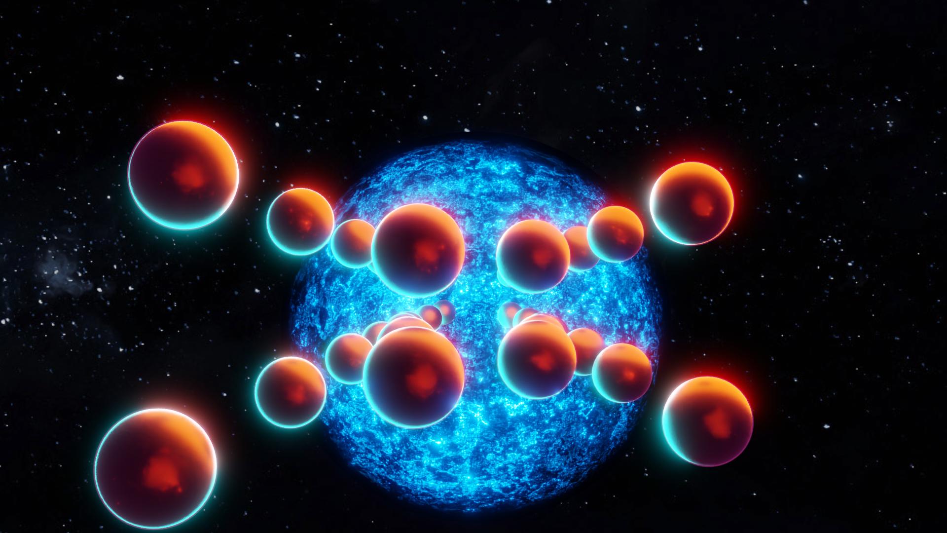 General 1920x1080 Pendulum abstract 3D Abstract space Sun stars balls red sun Blender graphic design 3D graphics