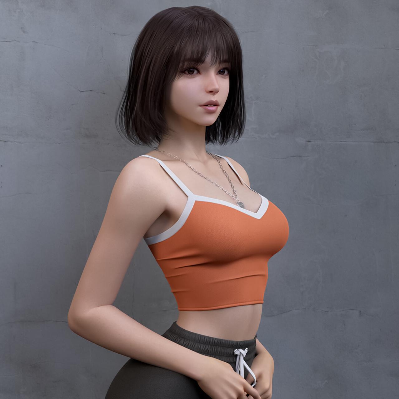 General 1280x1280 Shin JeongHo CGI women brunette shoulder length hair bangs straight hair tank top orange clothing necklace pants sportswear gray