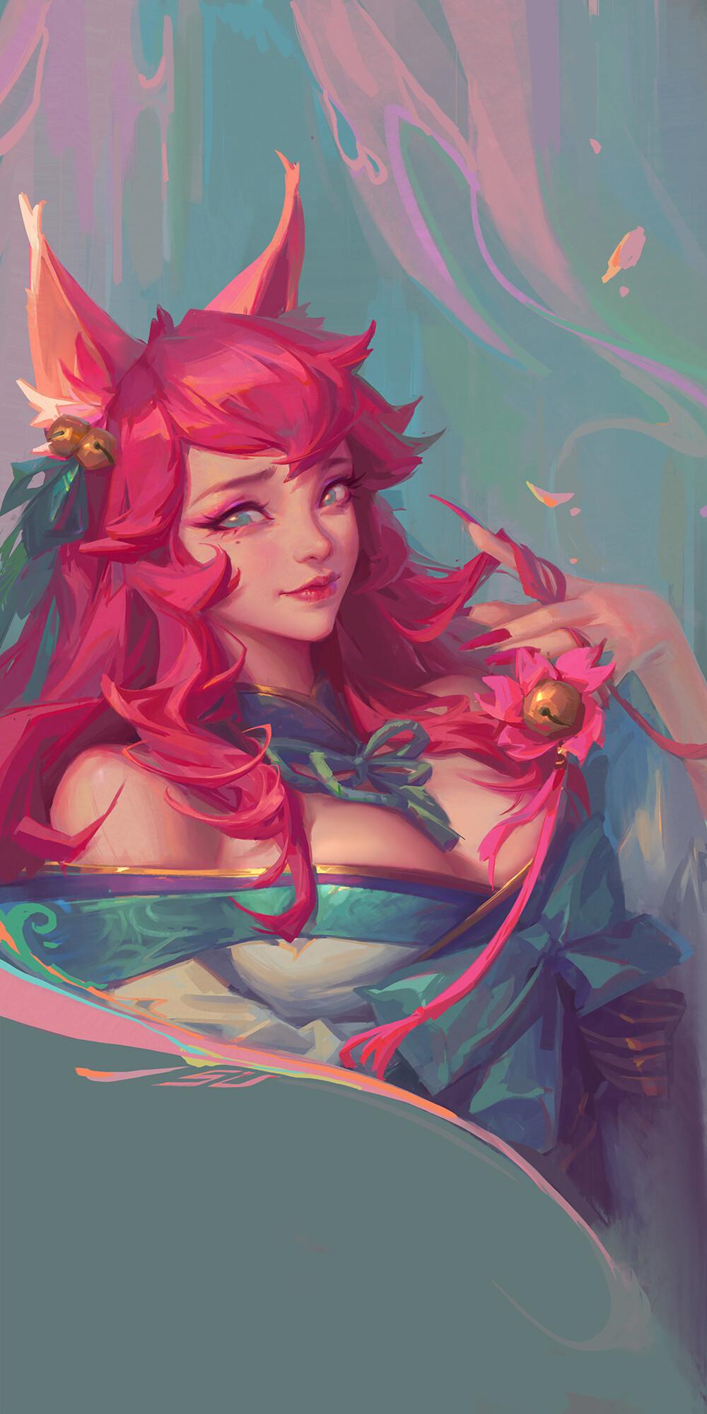 General 1000x2000 artwork ArtStation redhead long hair fantasy art fantasy girl painted nails League of Legends spirit blossom Ahri (League of Legends)