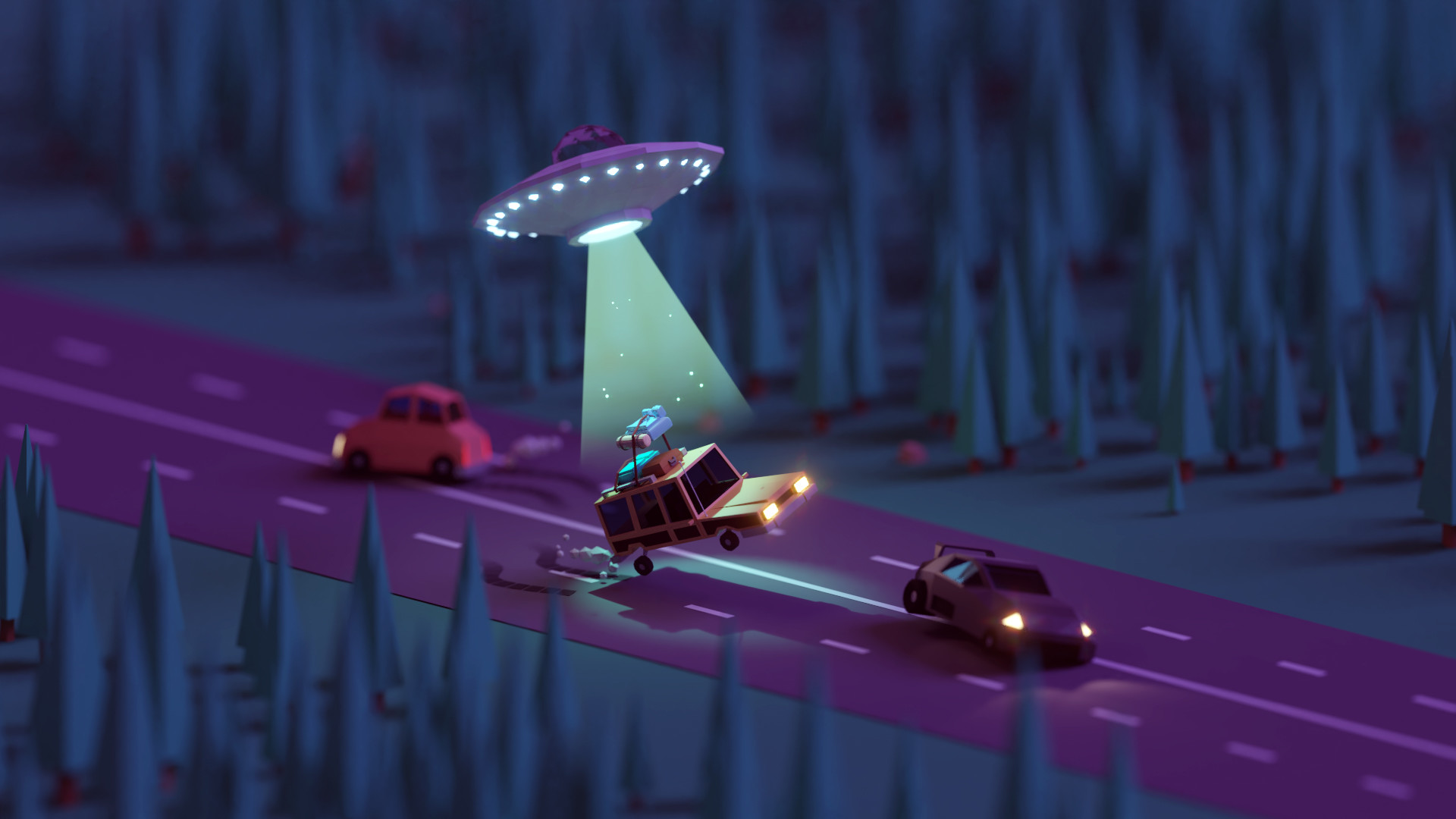 General 1920x1080 Mohamed Chahin render geometry nature forest trees street car aliens night macro alien abduction flying saucers