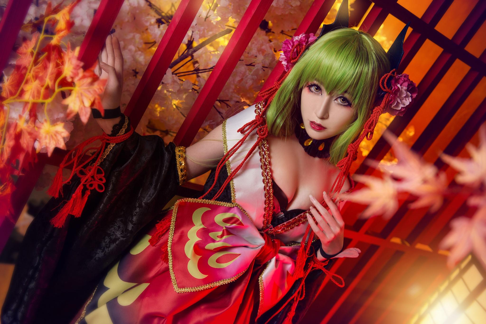 General 2048x1363 Asian women model green hair fantasy art cosplay C.C. (Code Geass)