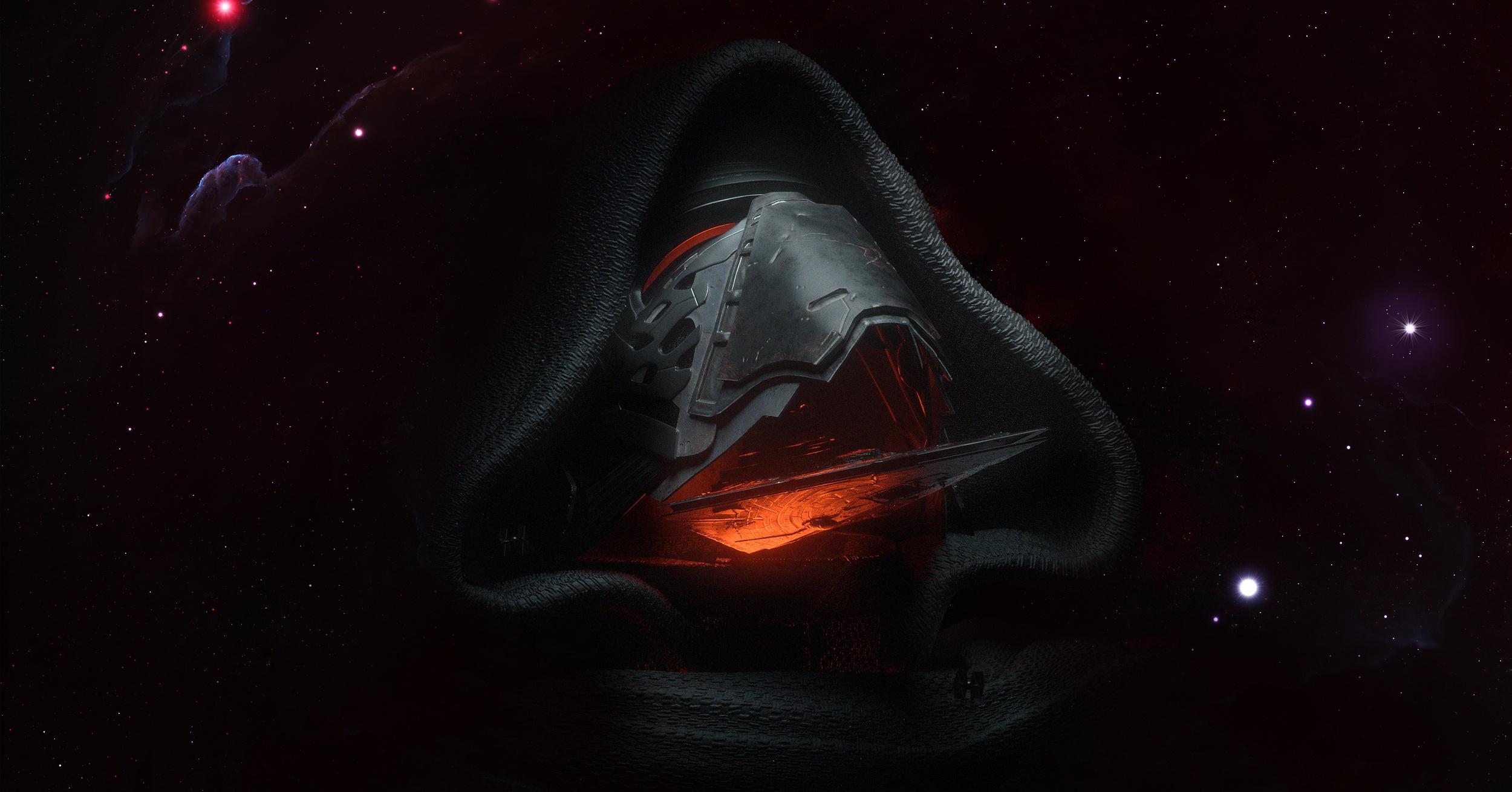 General 2500x1310 dark artwork Star Wars Star Wars Ships mask science fiction digital art Kylo Ren
