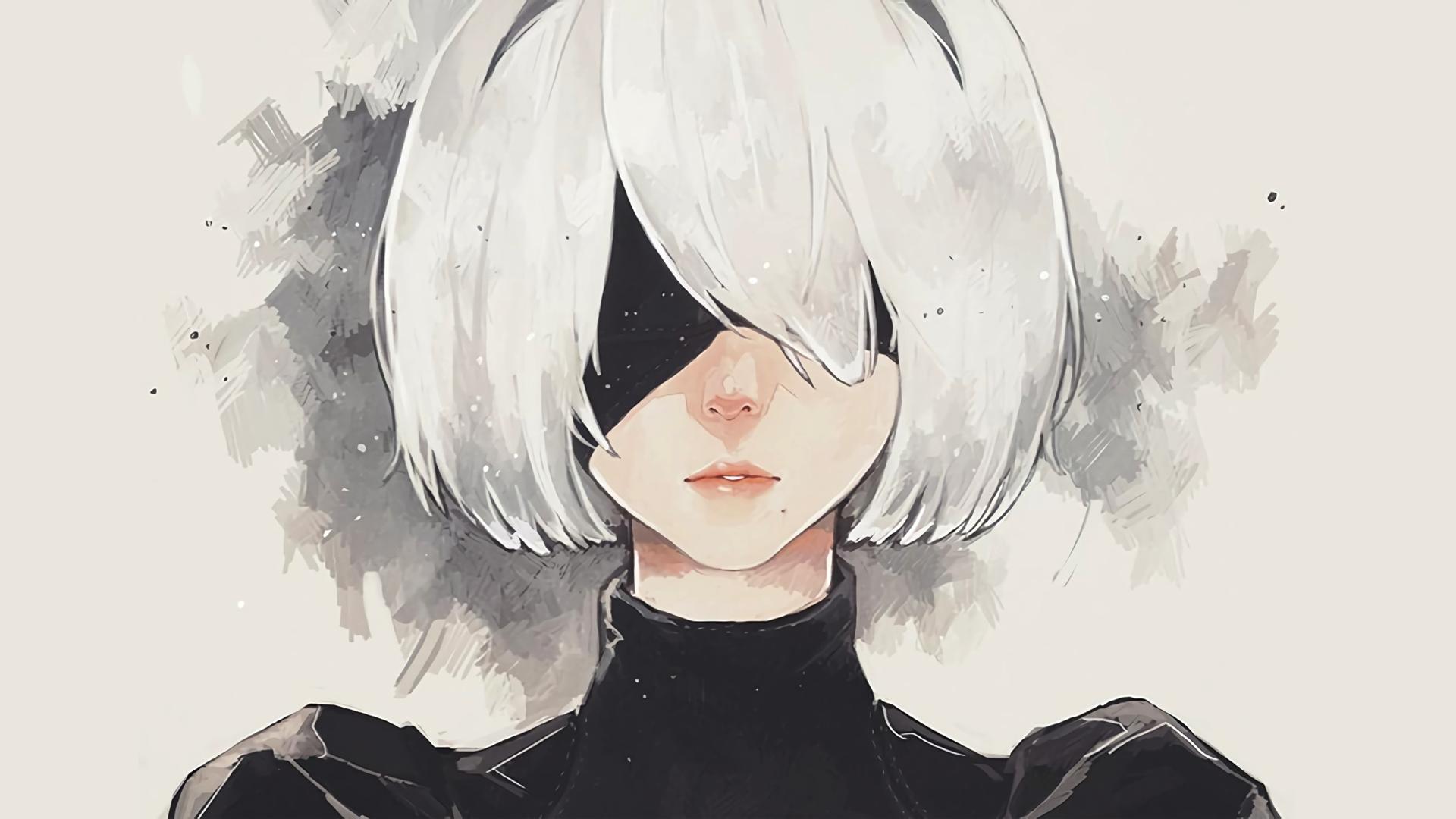 General 1920x1080 simple background white hair NieR Nier: Automata silver hair short hair 2B
