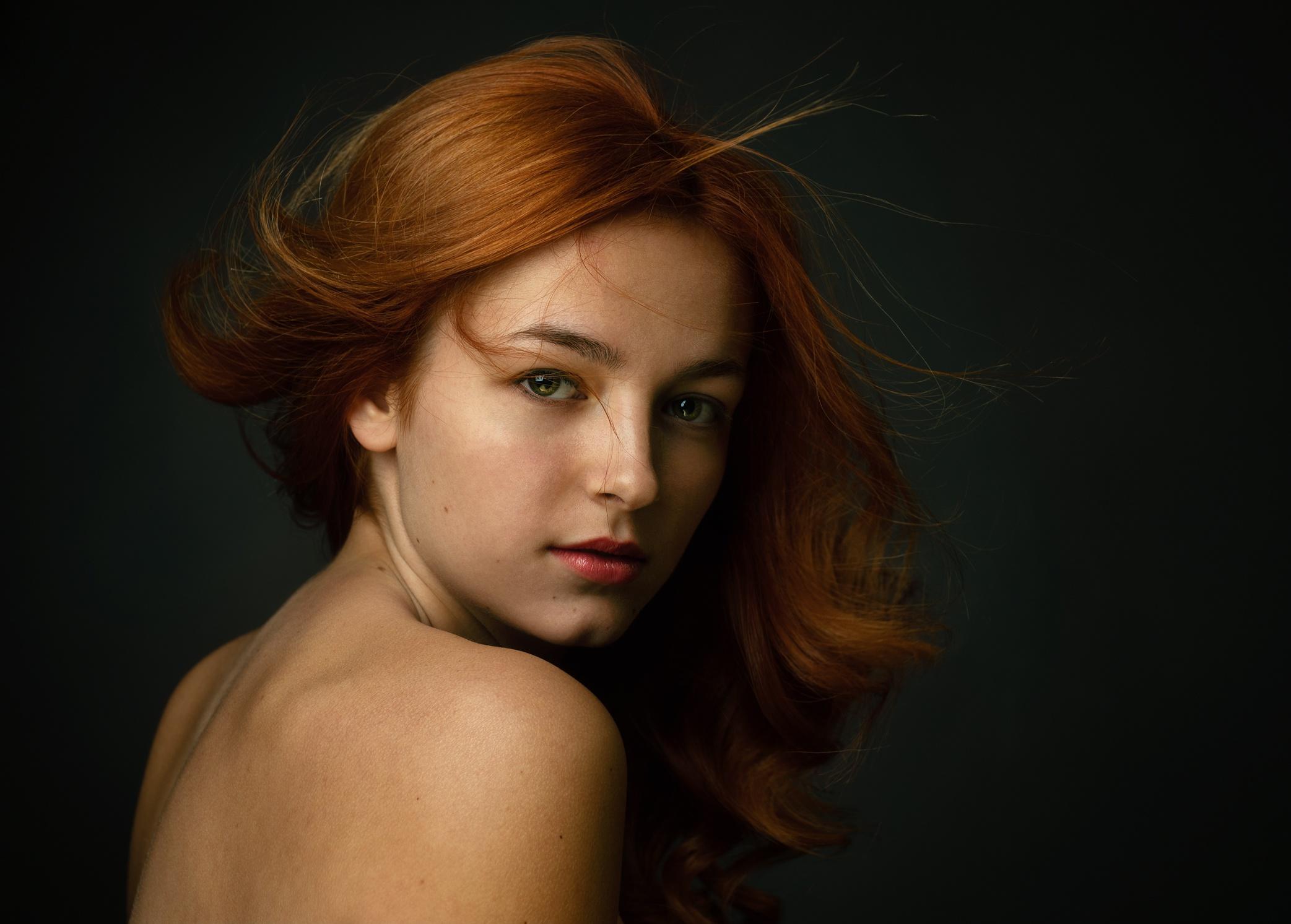 People 2085x1493 bare shoulders redhead portrait face simple background women model Zachar Rise