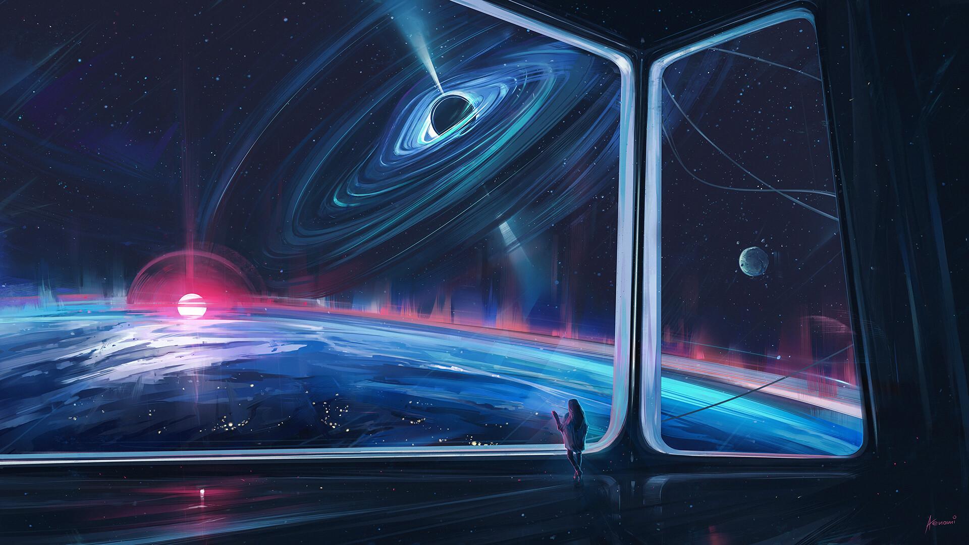 General 1920x1080 digital art artwork Aenami planet space stars science fiction futuristic