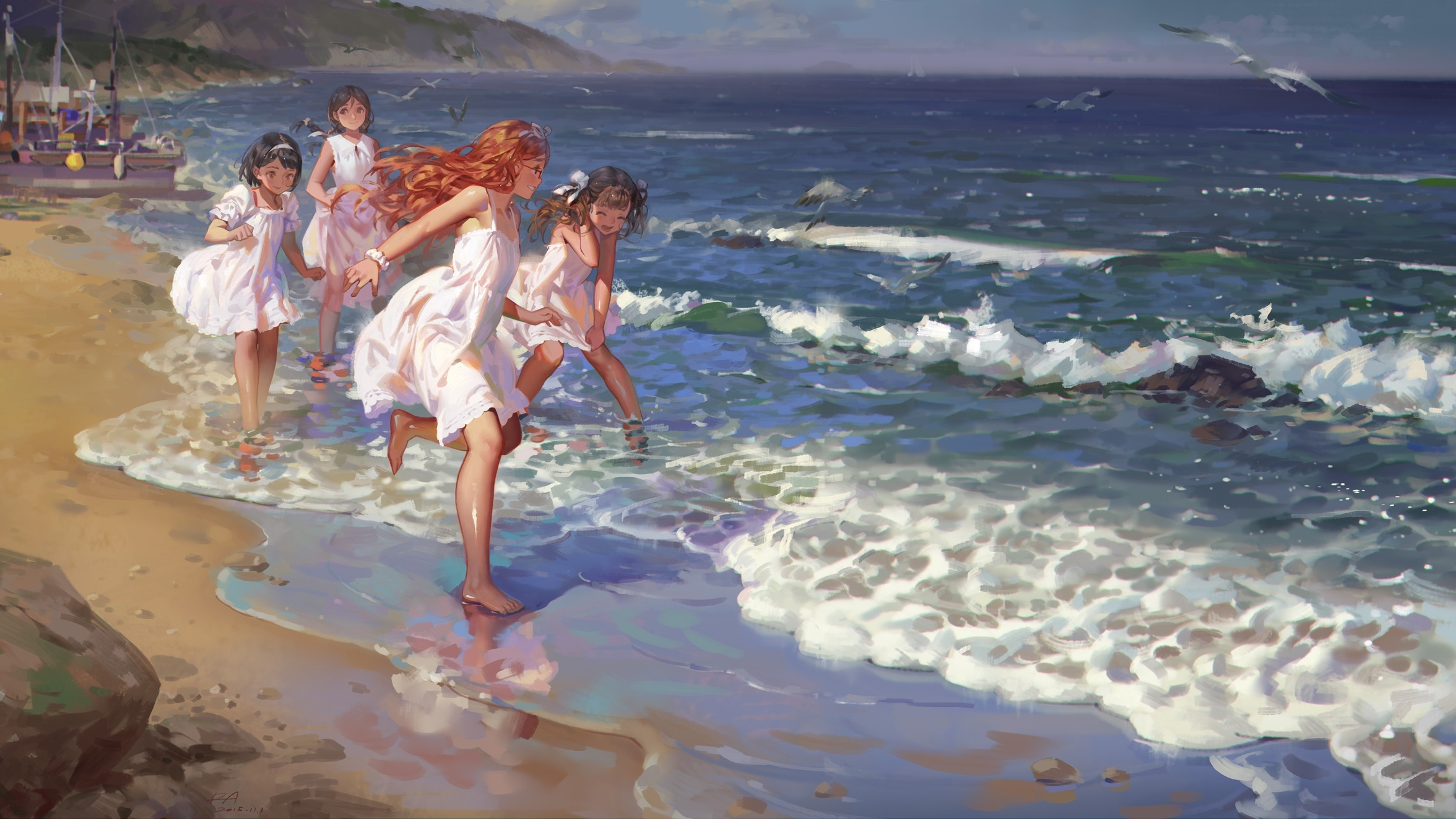 Anime 2352x1323 beach sand waves dress sea loli