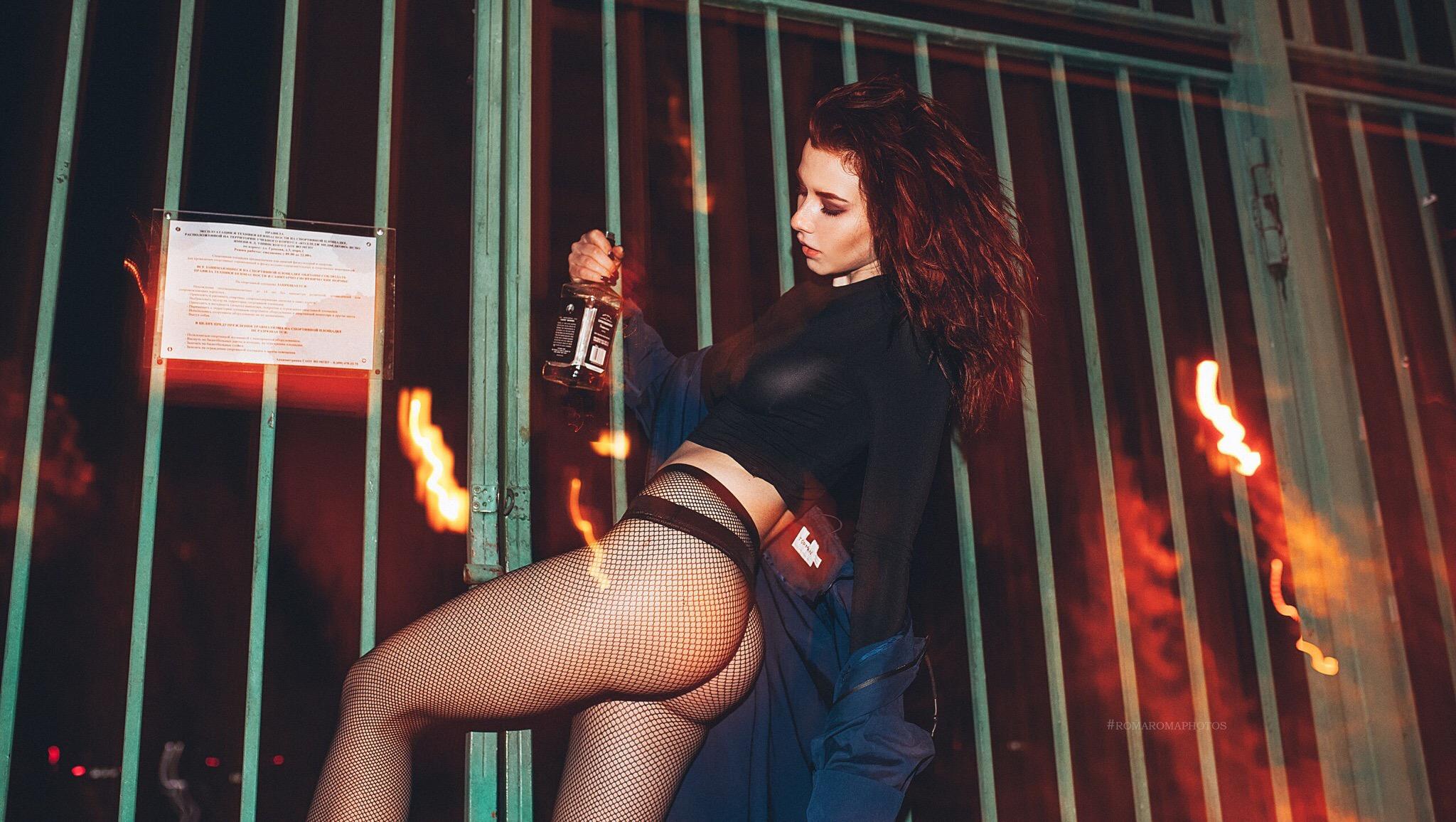 People 2048x1156 women bottles ass fishnet stockings painted nails fishnet lingerie Inga Lis Inga Sunagatullina open coat whisky blue coat coats