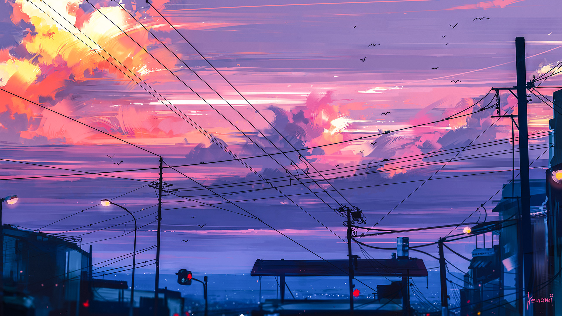 General 1920x1080 digital art illustration sunset city clouds artwork lines town painting street drawing Aenami