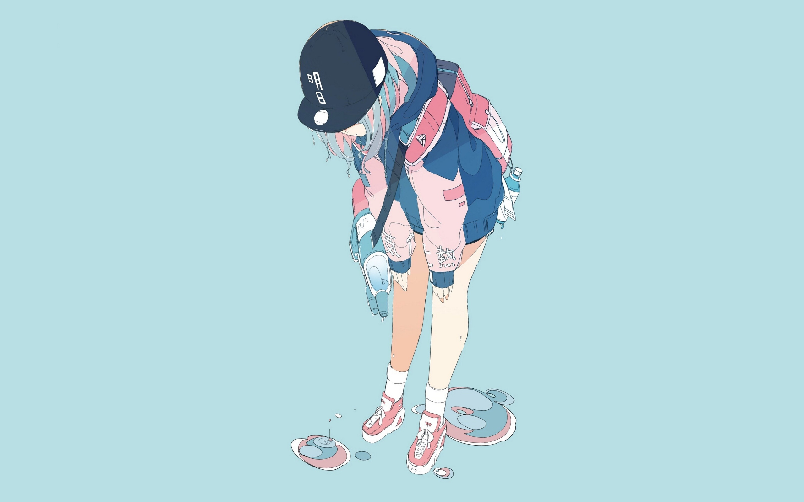 Anime 2560x1600 simple background anime girls blue background hat anime daisukerichard