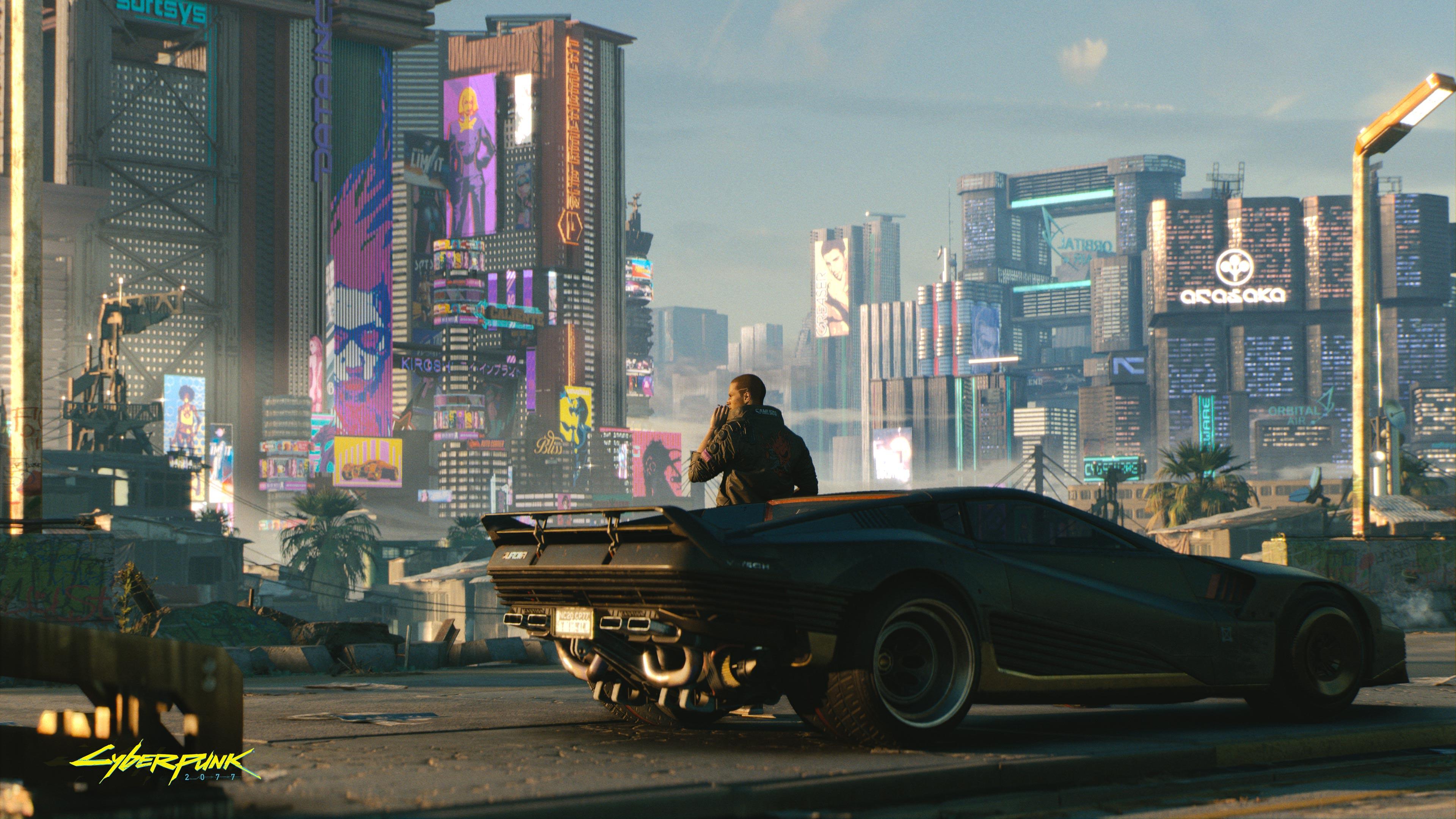 General 3840x2160 Cyberpunk 2077 video games CD Projekt RED PC gaming car vehicle black cars futuristic city futuristic