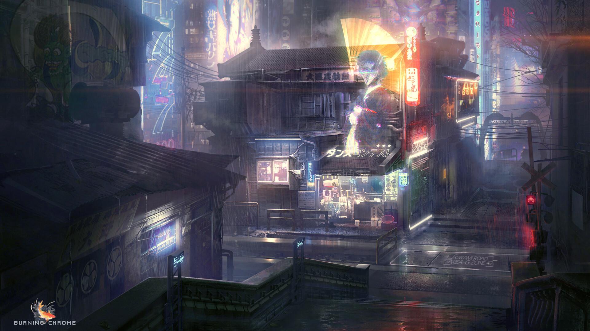General 1920x1080 futuristic futuristic city neon lights hologram cyberpunk digital art artwork city Chinese architecture Chinese rain Evan Liu science fiction