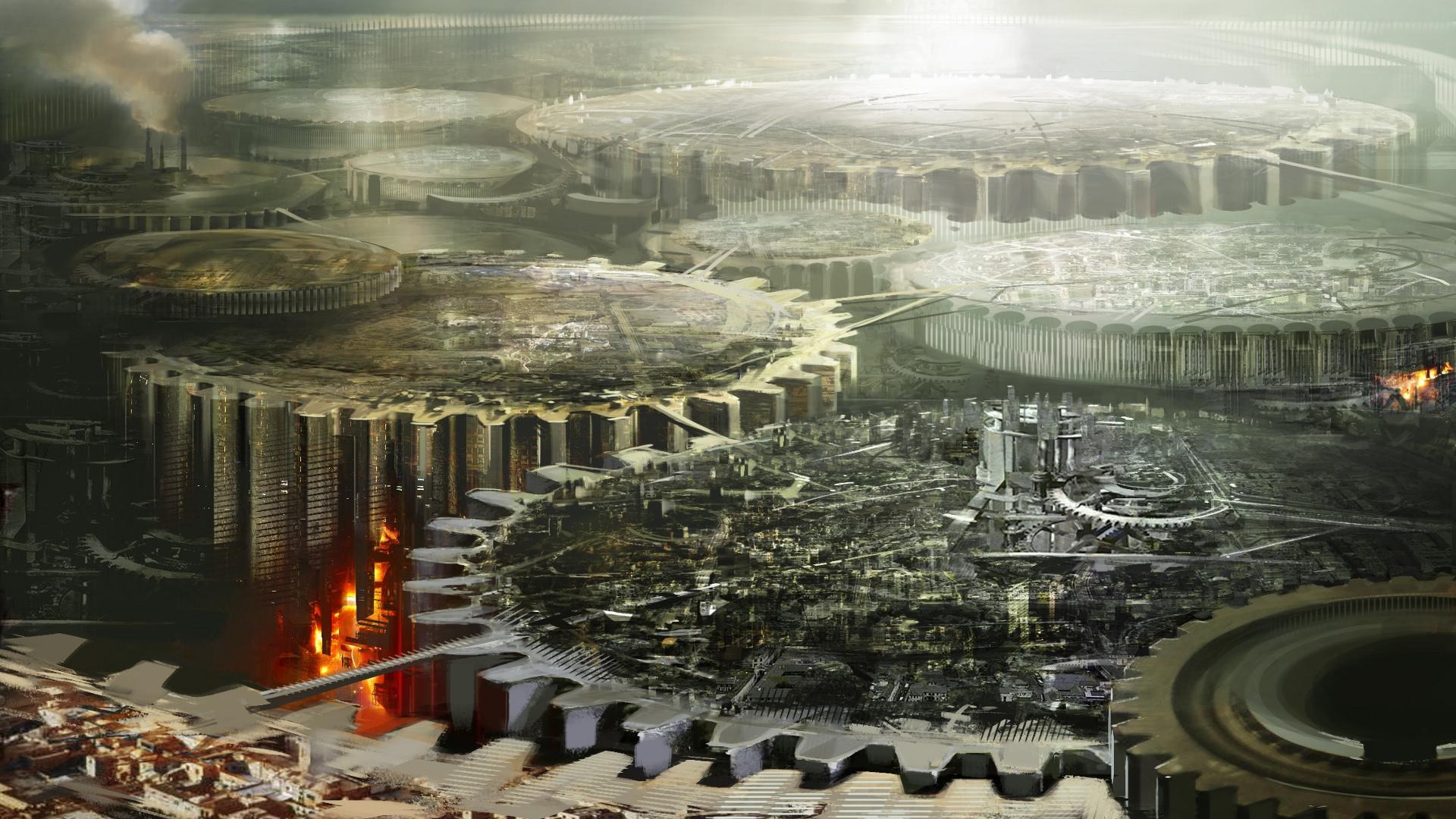 General 1920x1080 gears apocalyptic futuristic city