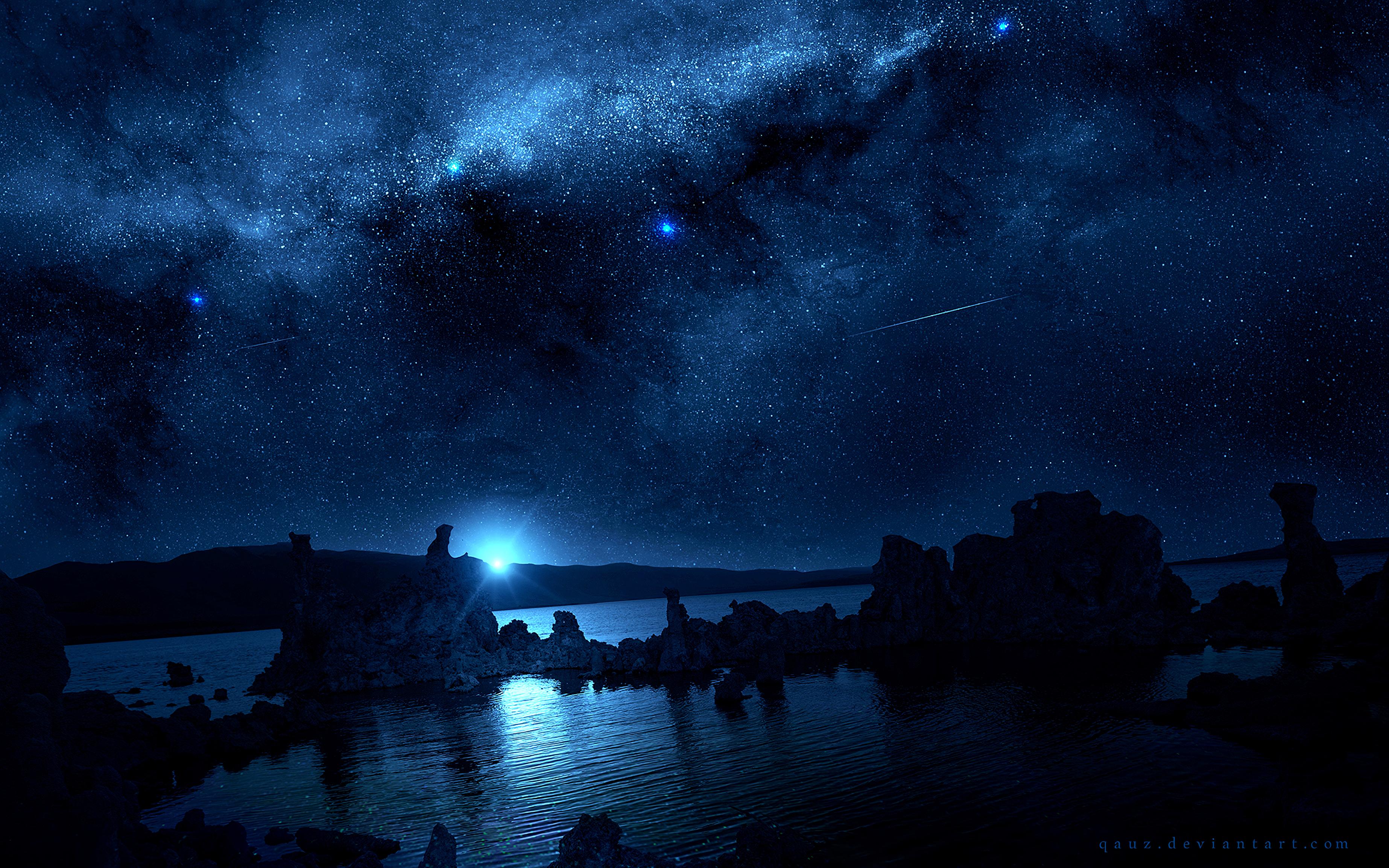 General 3692x2308 digital digital art artwork fantasy art night sky landscape nature skyscape starry night blue comet shooting stars lights rocks water sea reflection spacescapes galaxy space universe Milky Way