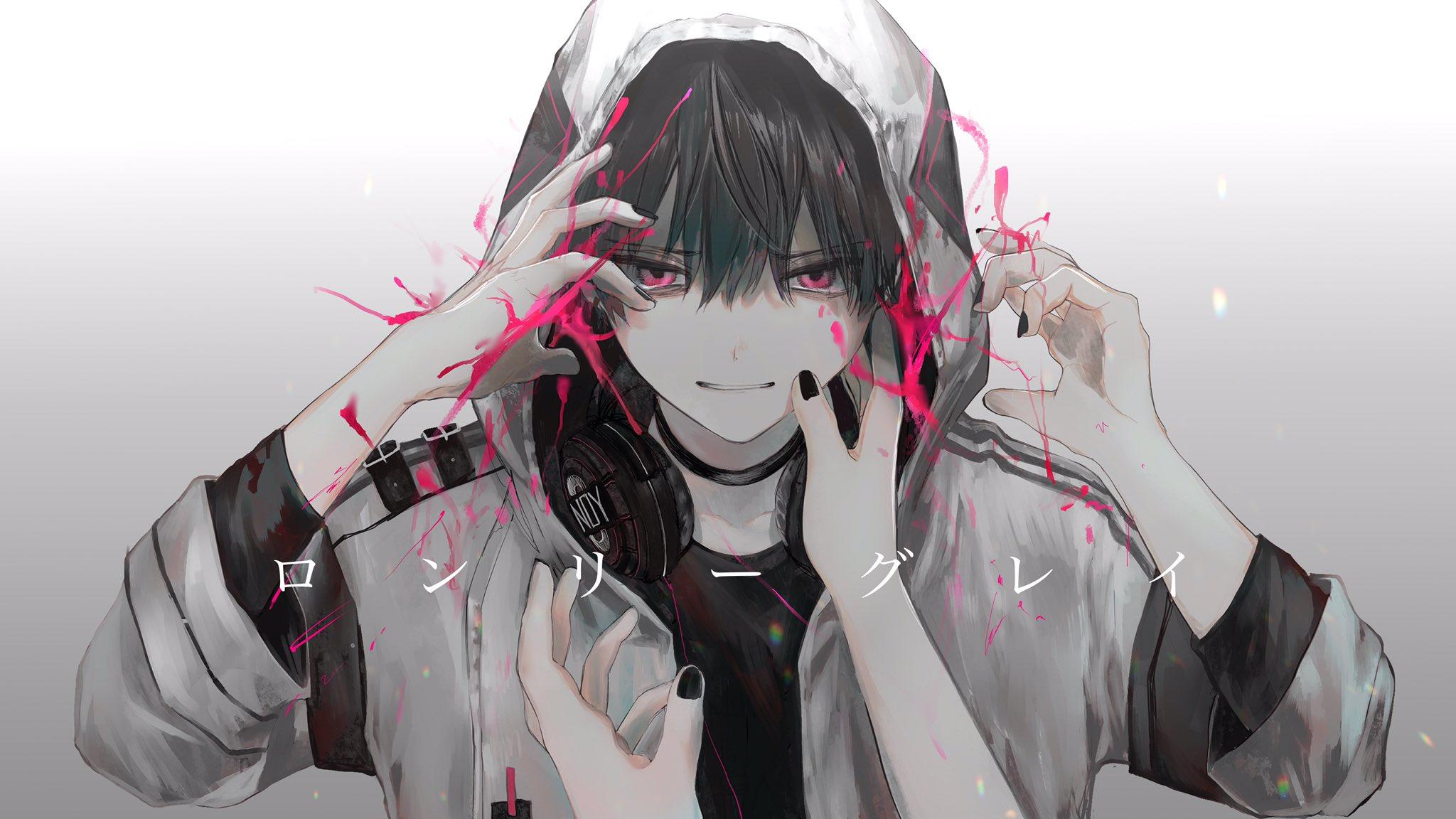 Anime Male Headphones Black Nails Hood 2048x1152
