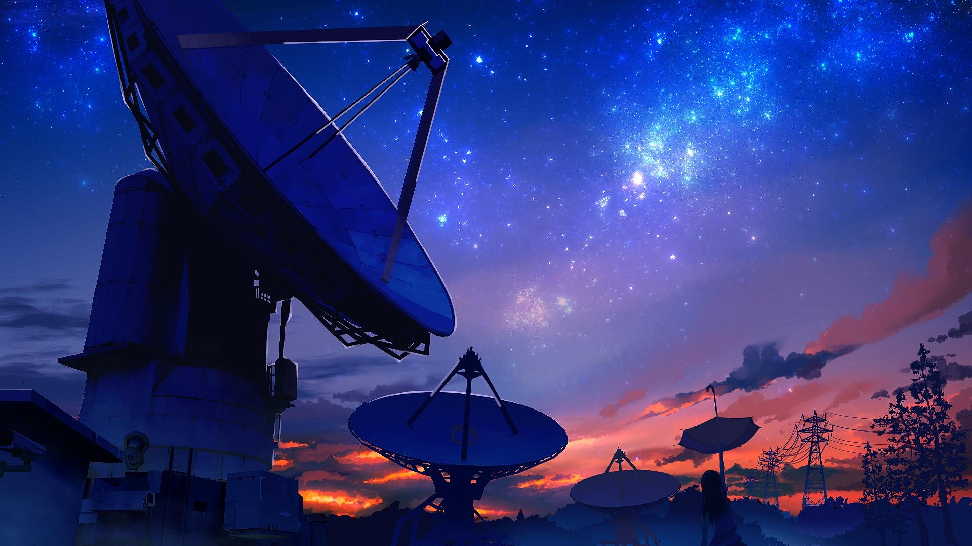 General 1920x1080 radio telescope space technology sky night sky artwork blue stars anime girls sunset