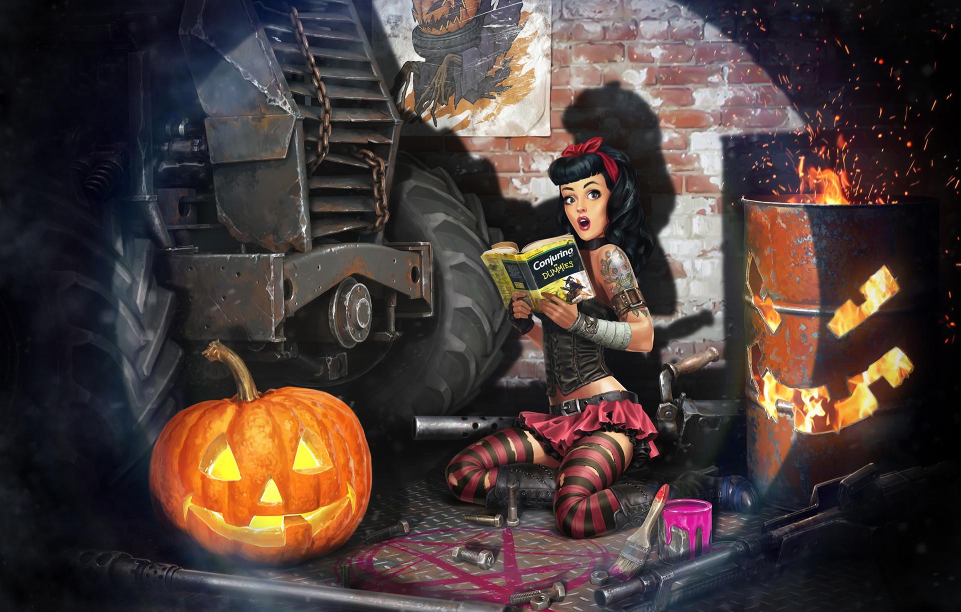 General 1920x1224 fantasy art fantasy girl artwork pumpkin