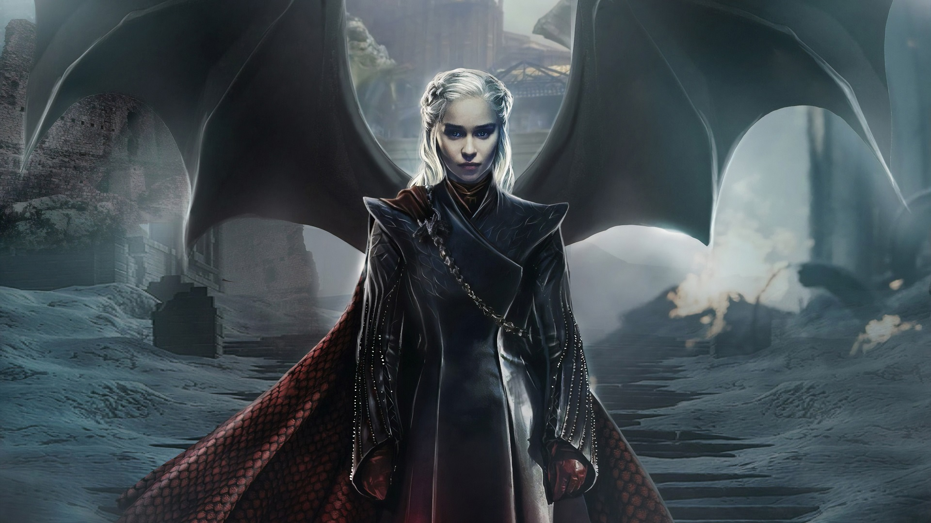 General 1920x1080 women Emilia Clarke Daenerys Targaryen Game of Thrones dragon wings TV silver hair artwork fantasy art