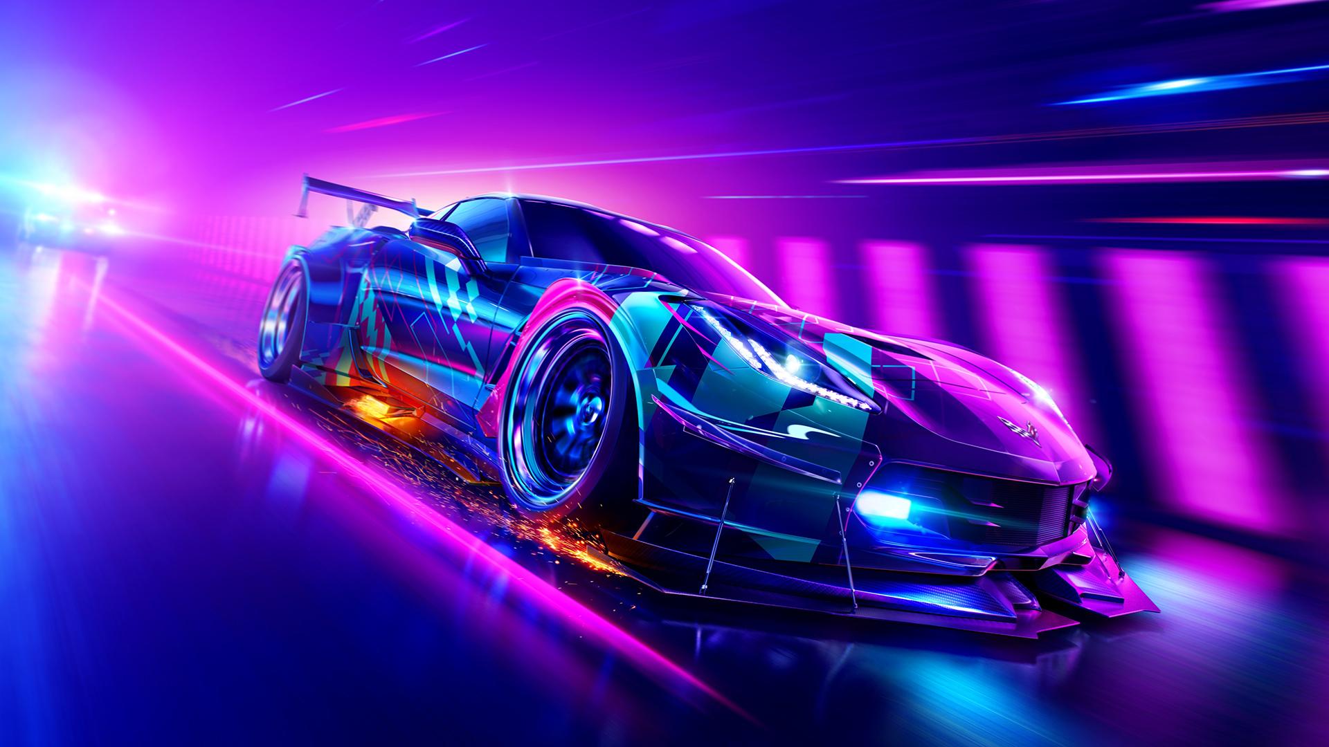 car, neon, Chevrolet Corvette, race cars, Need for Speed ...
