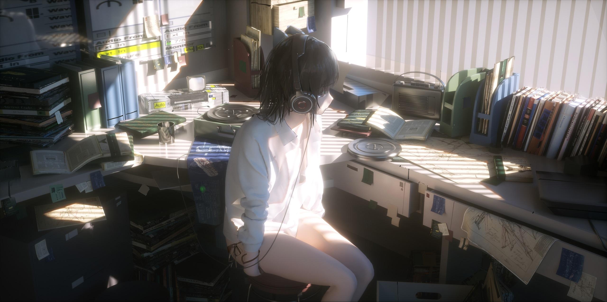 Anime 2560x1273 anime girls headphones women indoors desk radio books window