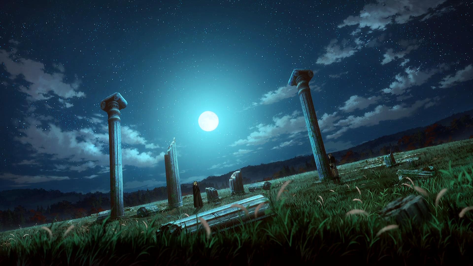 Anime 1920x1080 Vinland Saga landscape ruins night night sky Moon stars clouds roman empire England anime manga trees grass Makoto Yukimura Wit Studio Thorfinn Vikings yellow hair Askeladd cloaks standing