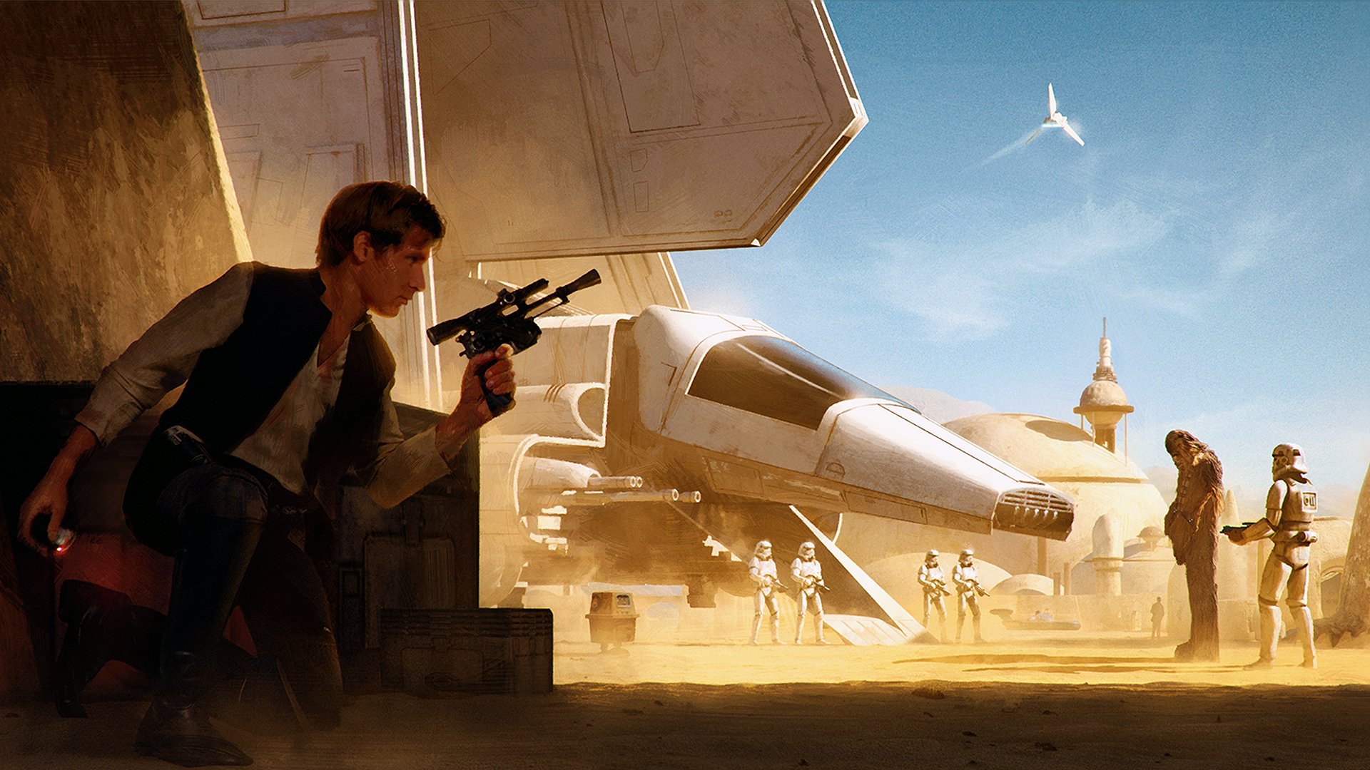 General 1920x1080 digital art artwork Star Wars Han Solo Chewbacca science fiction spaceship movie characters soldier stormtrooper Wojtek Fus