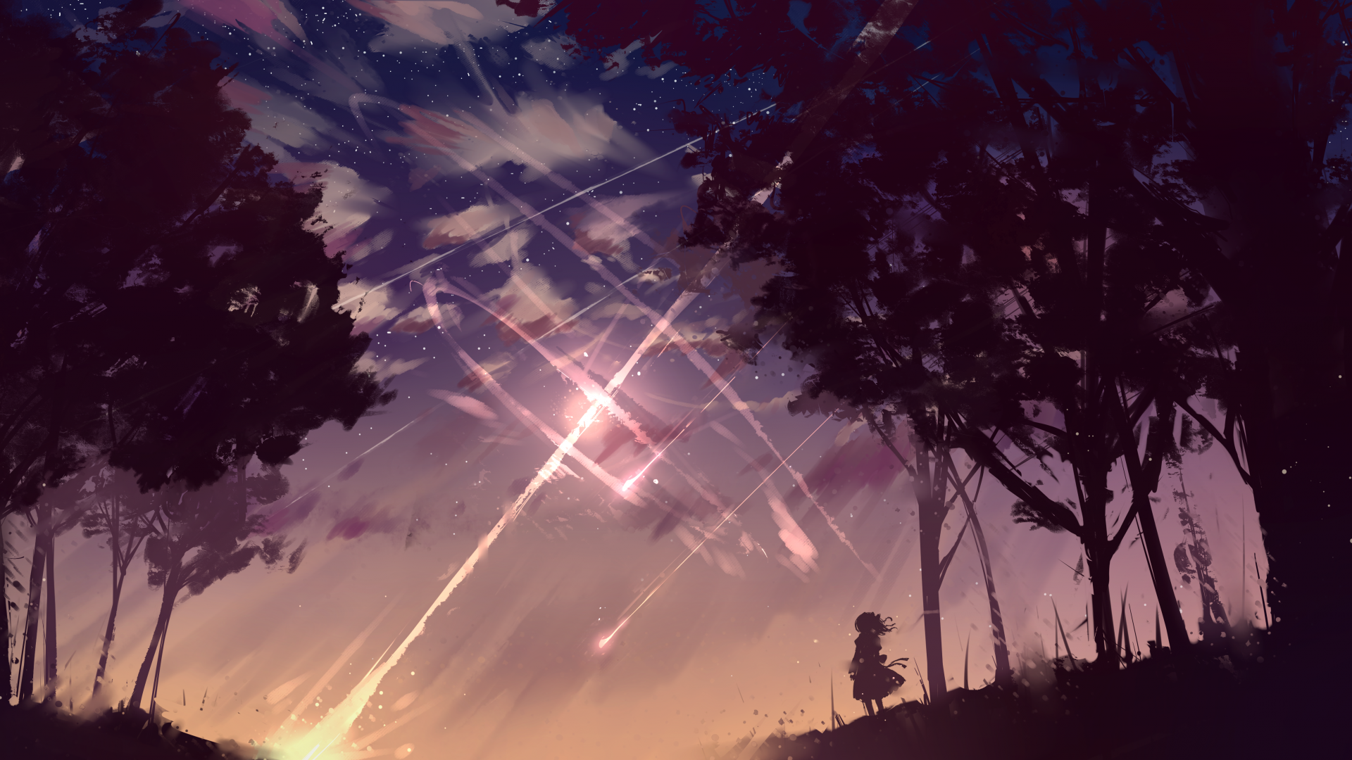 Anime 1920x1080 digital art digital landscape fantasy art forest