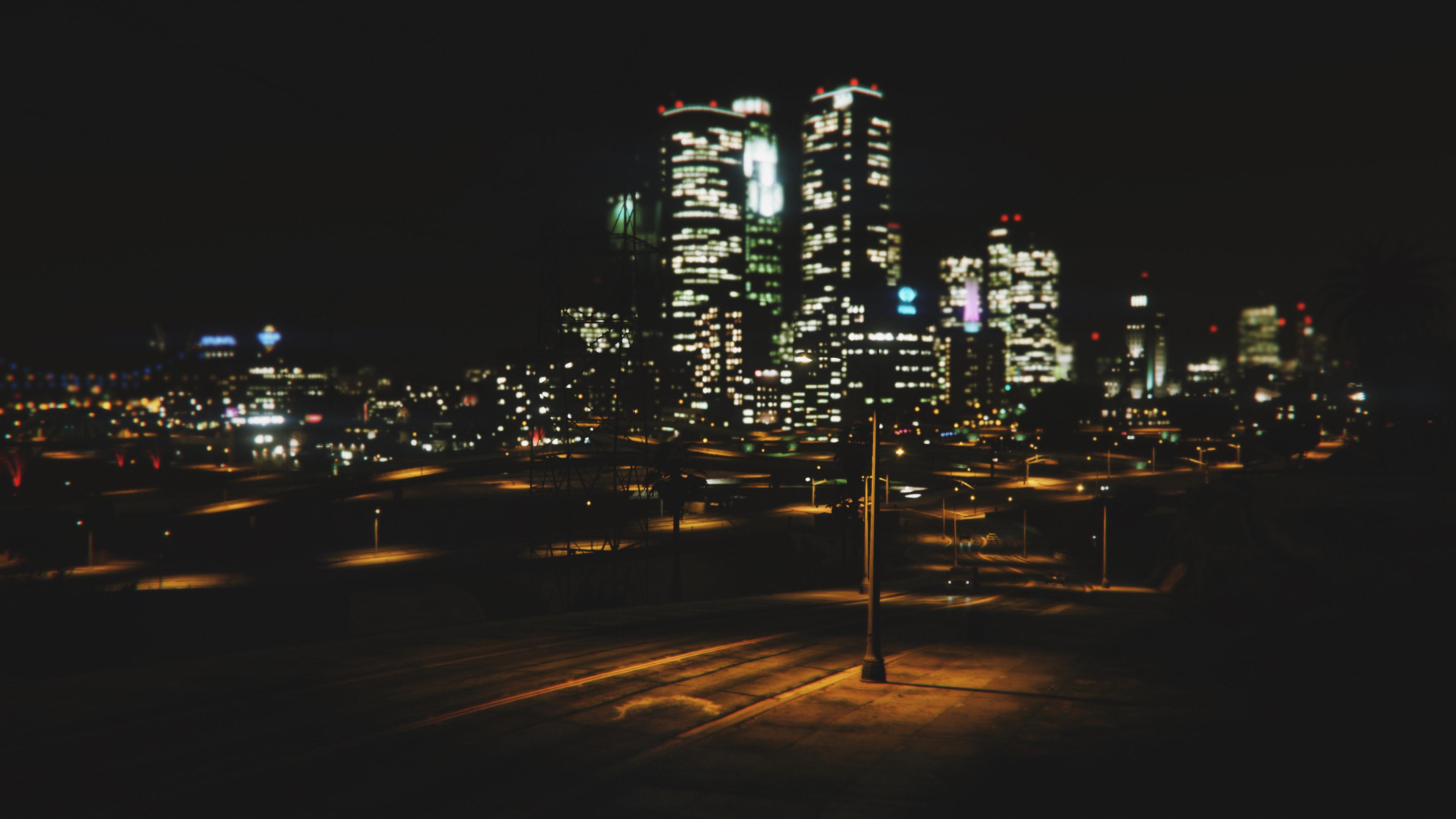 General 3840x2160 night city lights city Grand Theft Auto V GTA5 video games