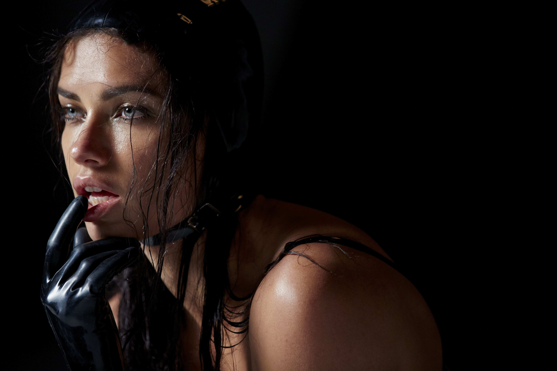 People 5760x3840 latex black latex Adriana Lima model brunette hoods gloves black gloves bra bra straps