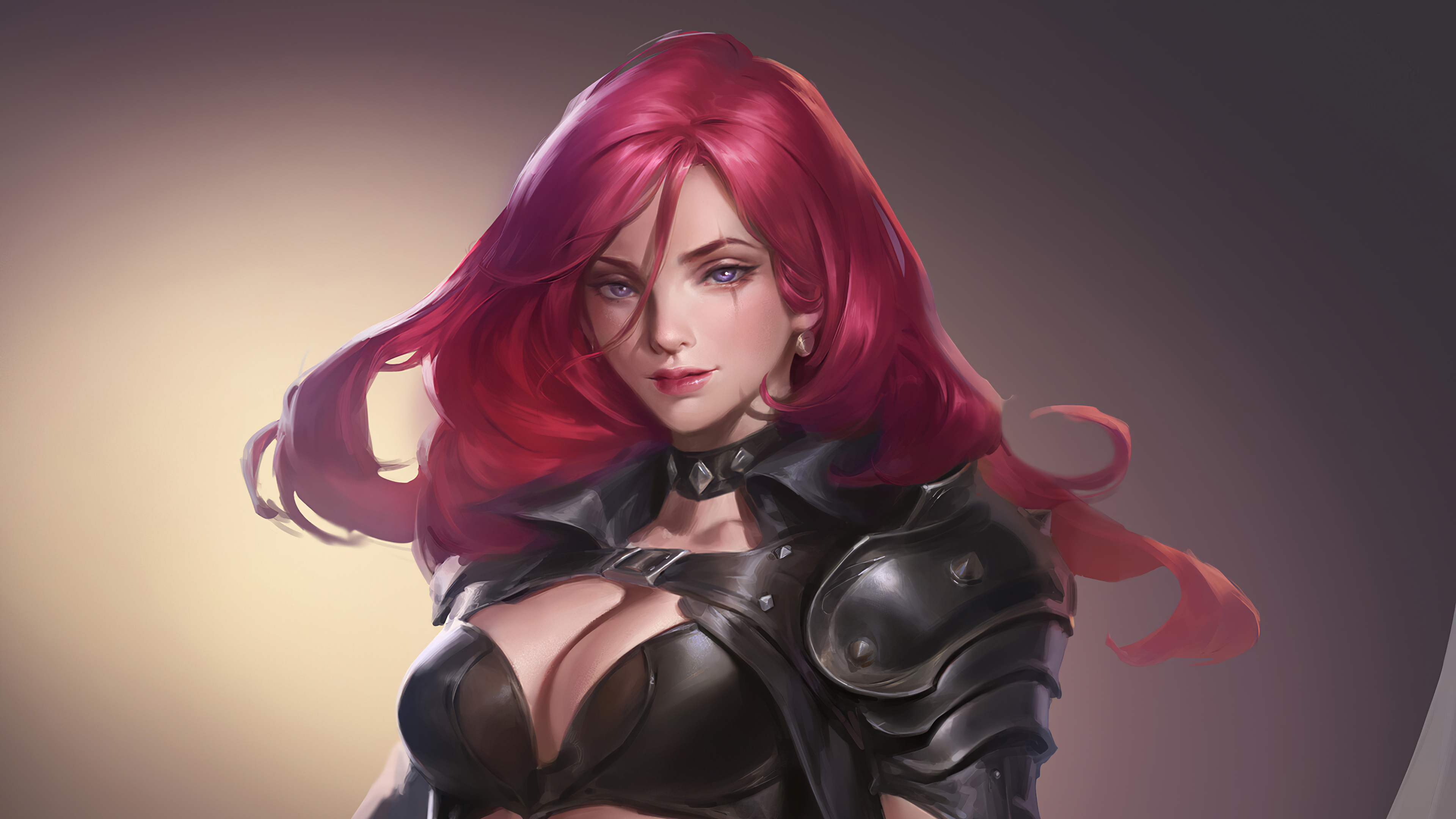 General 3840x2160 artwork video game characters video game girls redhead League of Legends fantasy girl cleavage katarina (league of legends)