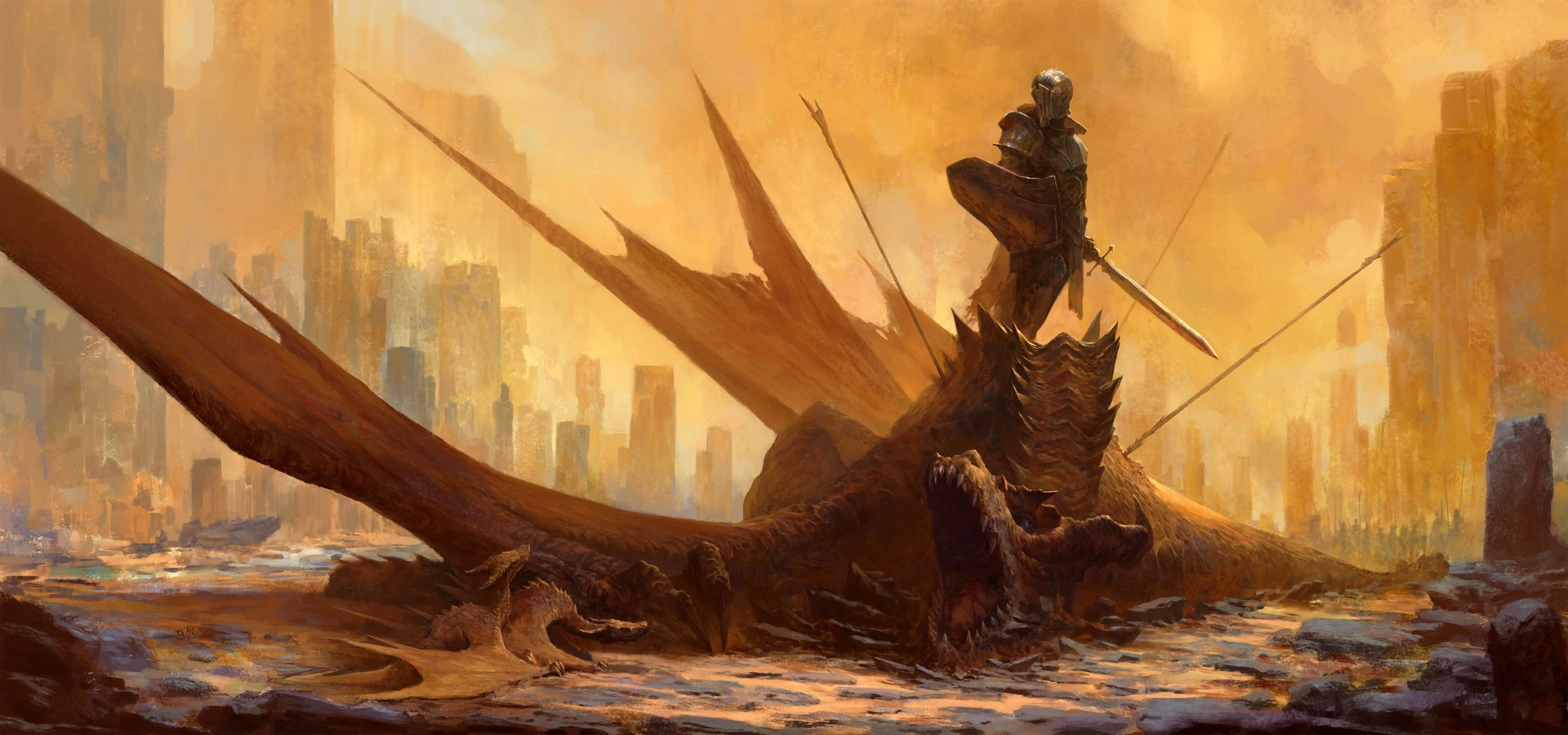 General 1920x900 Taras Susak digital dragon creature fantasy art artwork knight warrior sword shield Armored