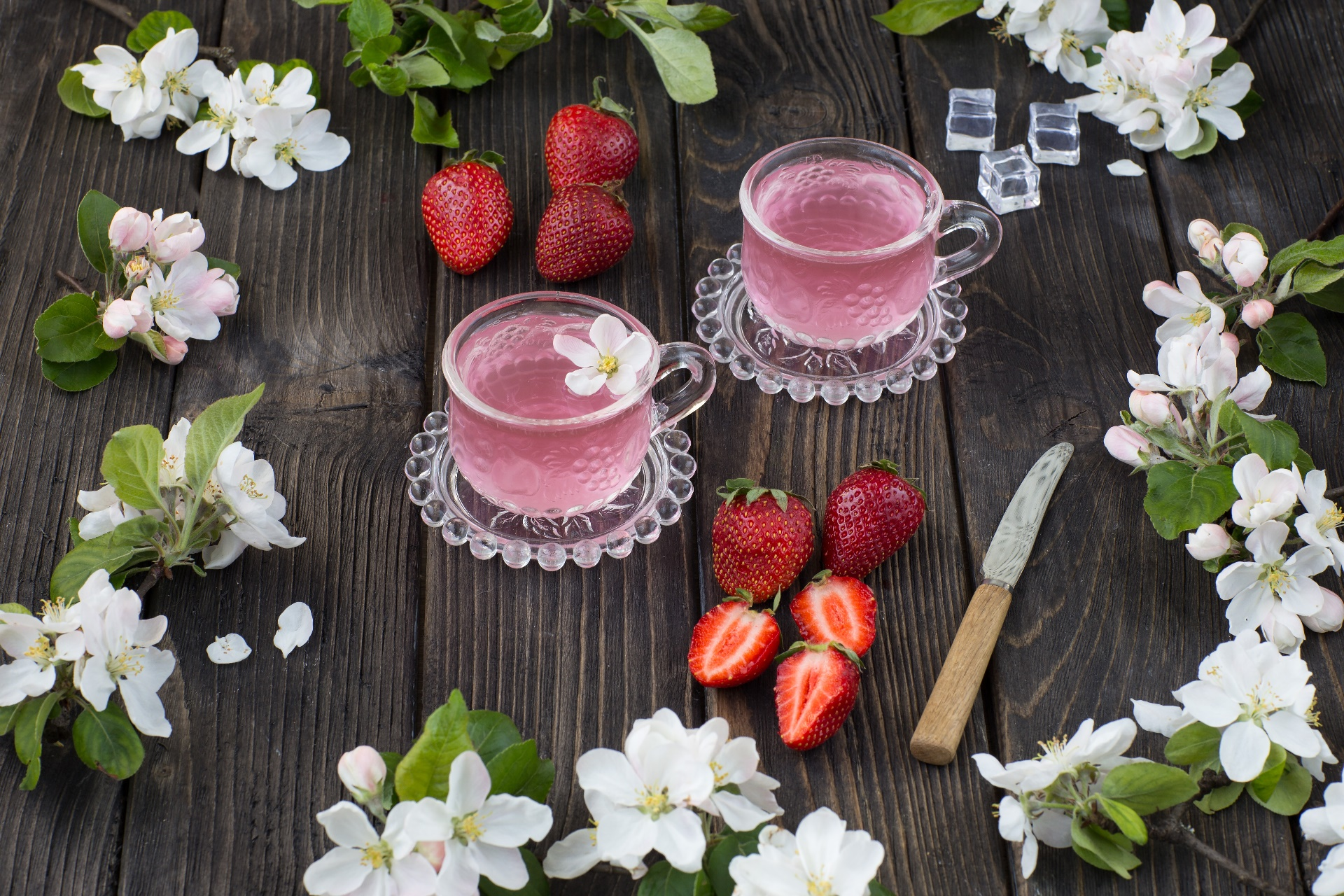 General 1920x1280 colorful flowers strawberries food fruit pink