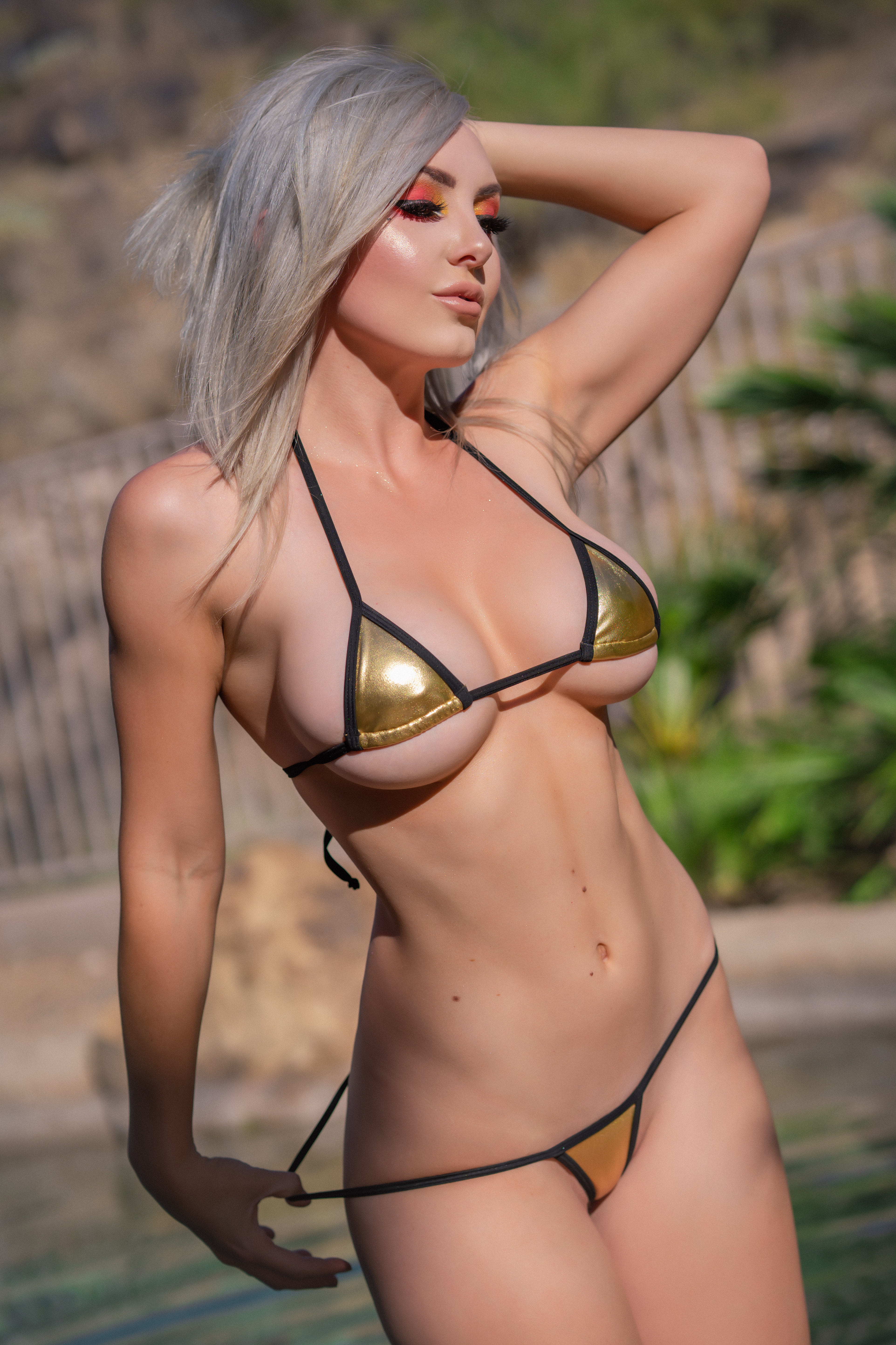 People 3846x5770 Jessica Nigri cosplay women blonde bikini pulling panties