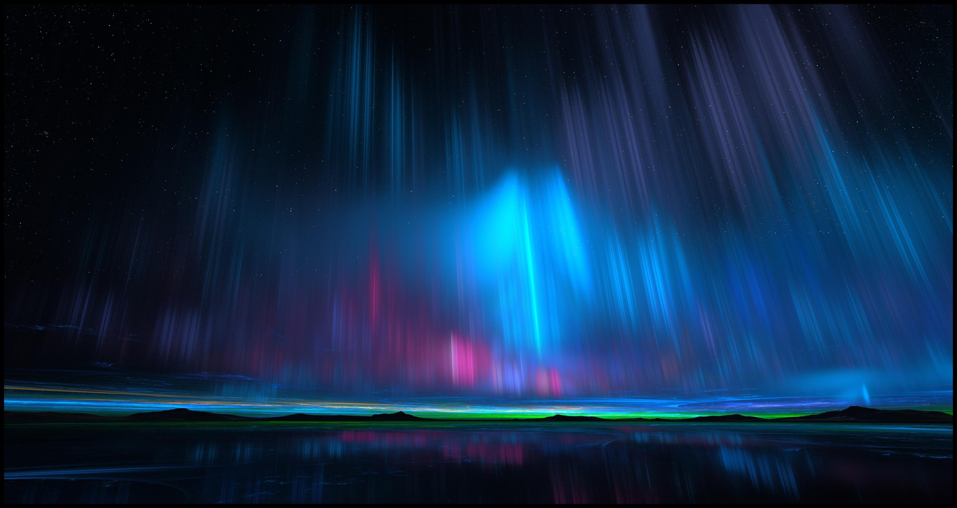 General 3228x1715 landscape mountains aurorae night space digital art