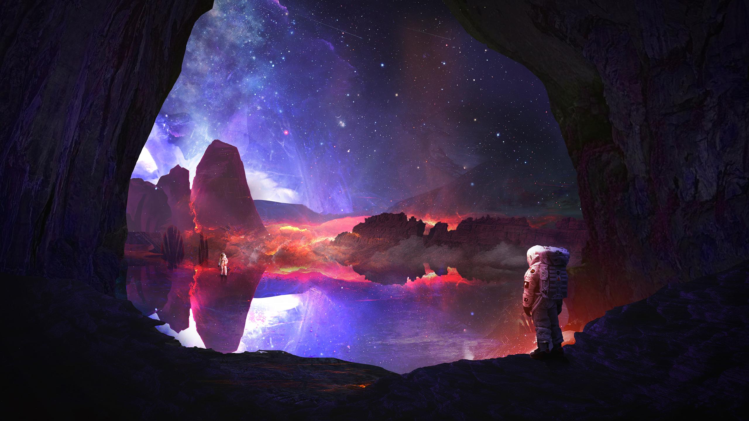 General 2560x1440 digital art space stars rock mountains galaxy Martina Stipan astronaut