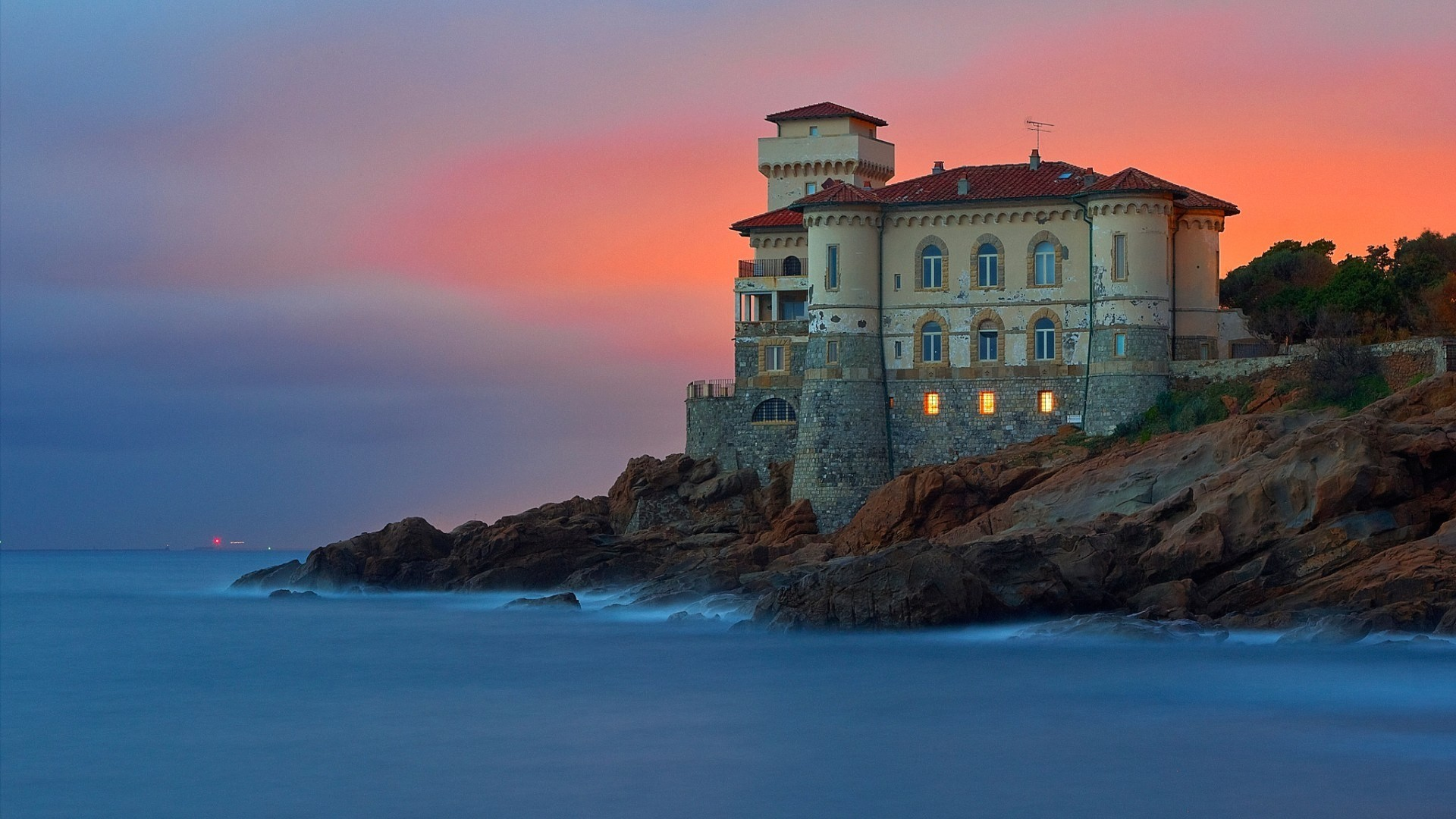 General 1920x1080 architecture building old building water trees Italy castle sunset sea rock lights evening waves long exposure Castello del Boccale