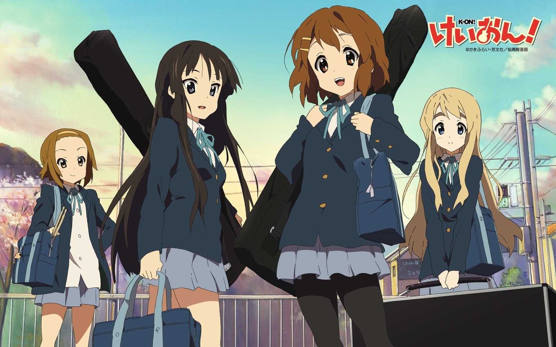 Anime 1920x1200 K-ON! anime girls Hirasawa Yui Akiyama Mio Kotobuki Tsumugi Tainaka Ritsu