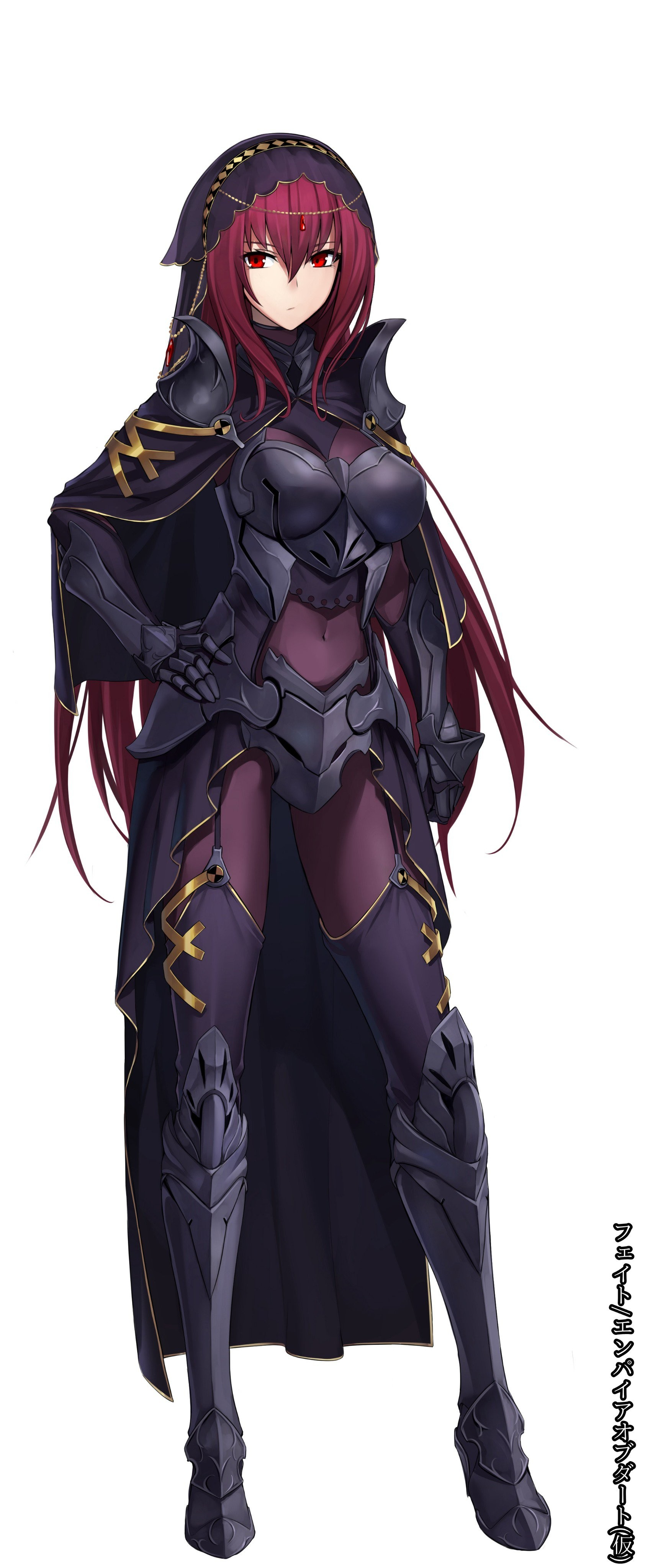 Anime 1684x4096 anime anime girls Fate/Grand Order Lancer (Fate/Grand Order) armor bodysuit heels stockings long hair redhead red eyes Scathach (Fate/Grand Order)
