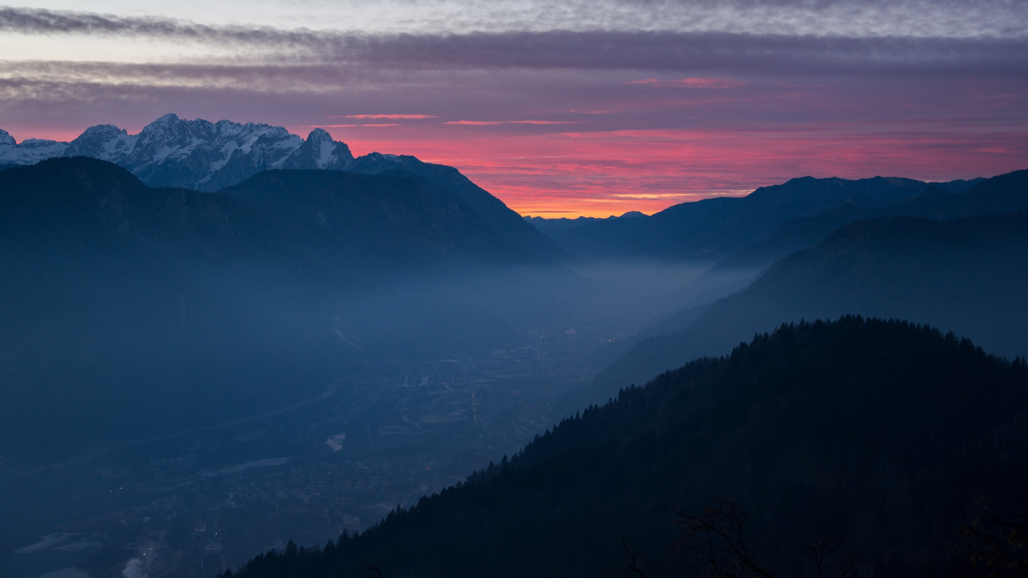 General 2048x1152 calm clouds dawn dusk forest mist mountains landscape nature sky pine trees wood
