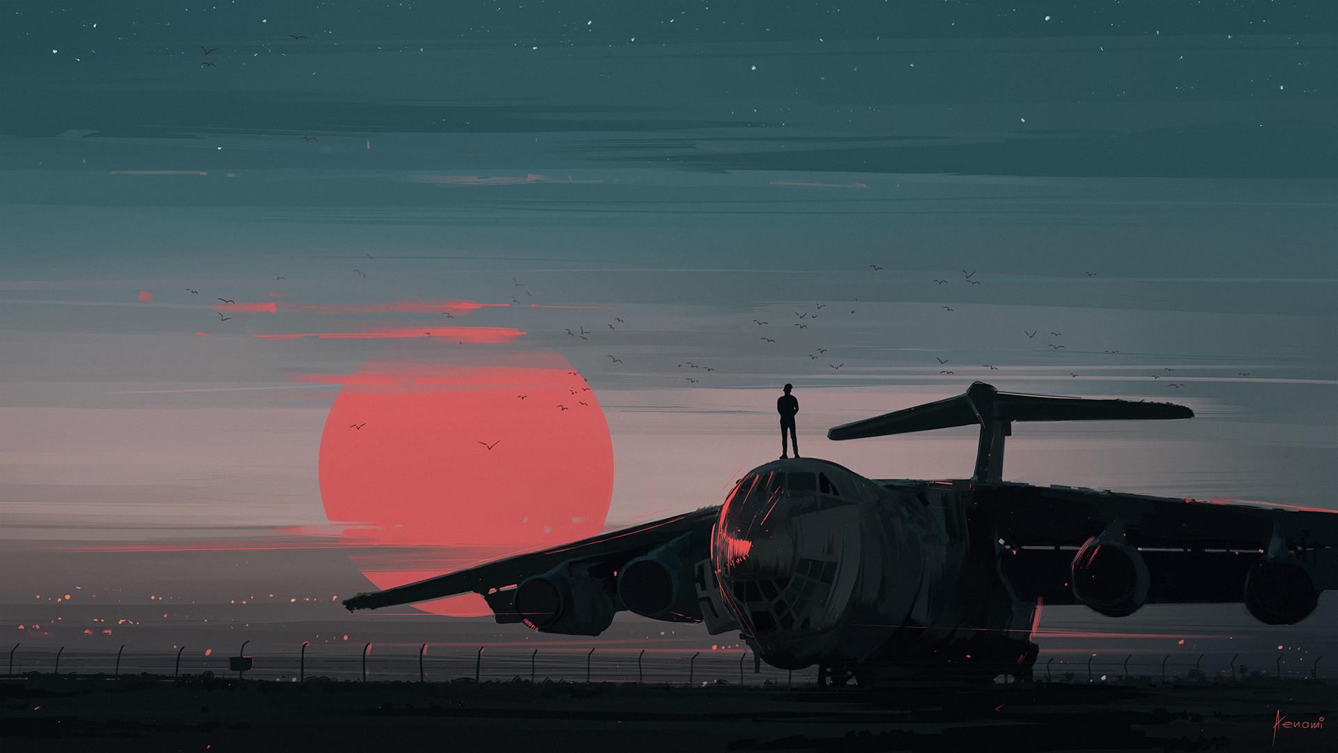 General 1920x1080 airplane digital art Aenami sunset sky birds landscape illustration red air Sun il-76