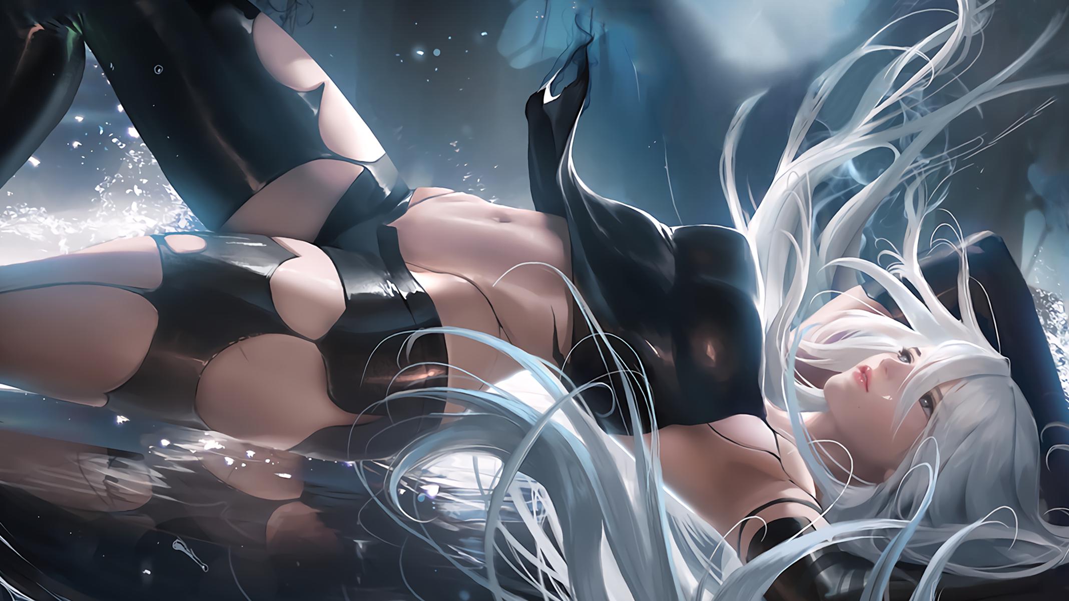 Anime 2136x1201 A2 (Nier: Automata) video games fan art Nier: Automata white hair NieR human android long hair digital art belly lying down Sakimichan torn clothes water