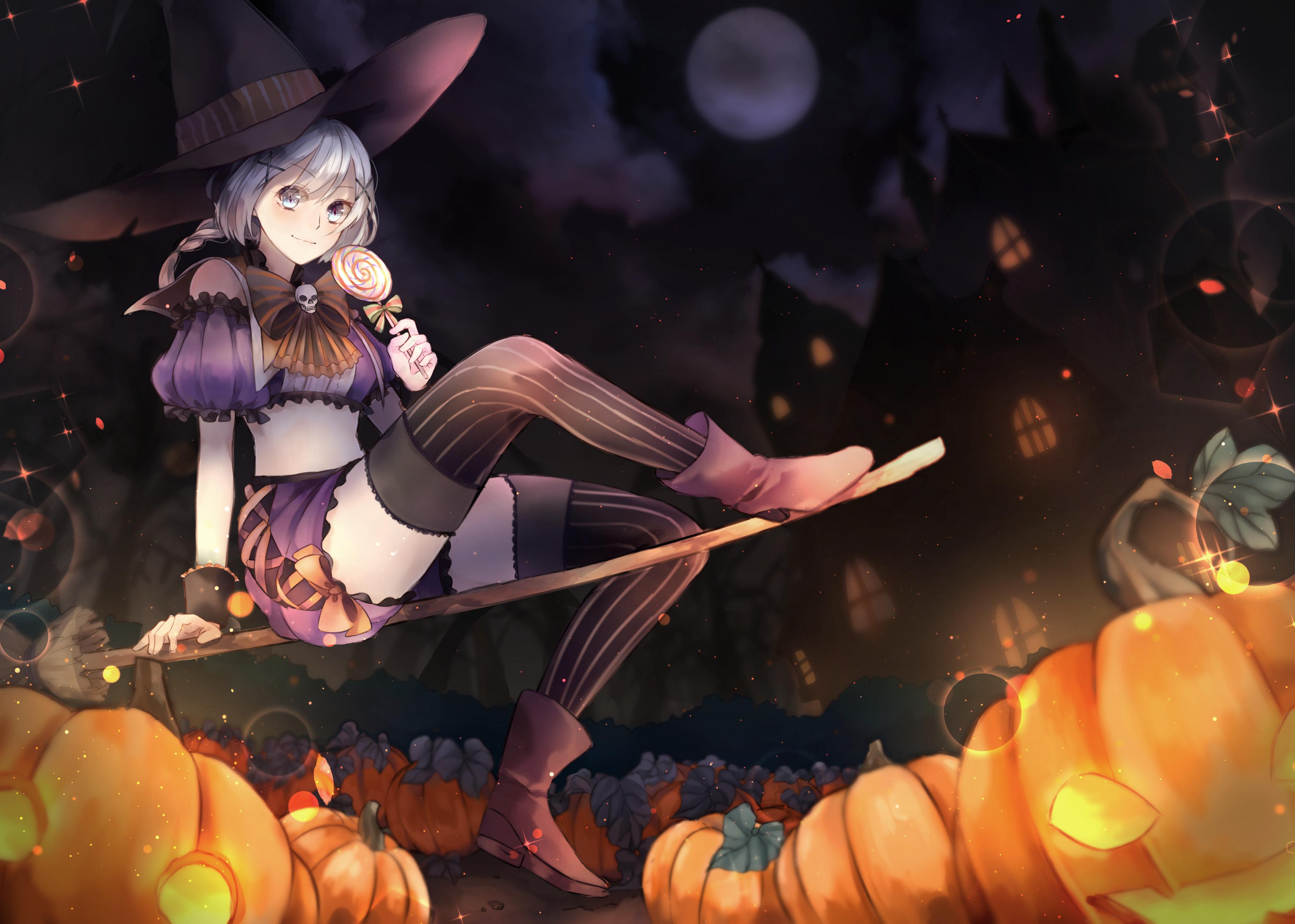 Anime 4054x2894 Halloween blue eyes anime anime girls